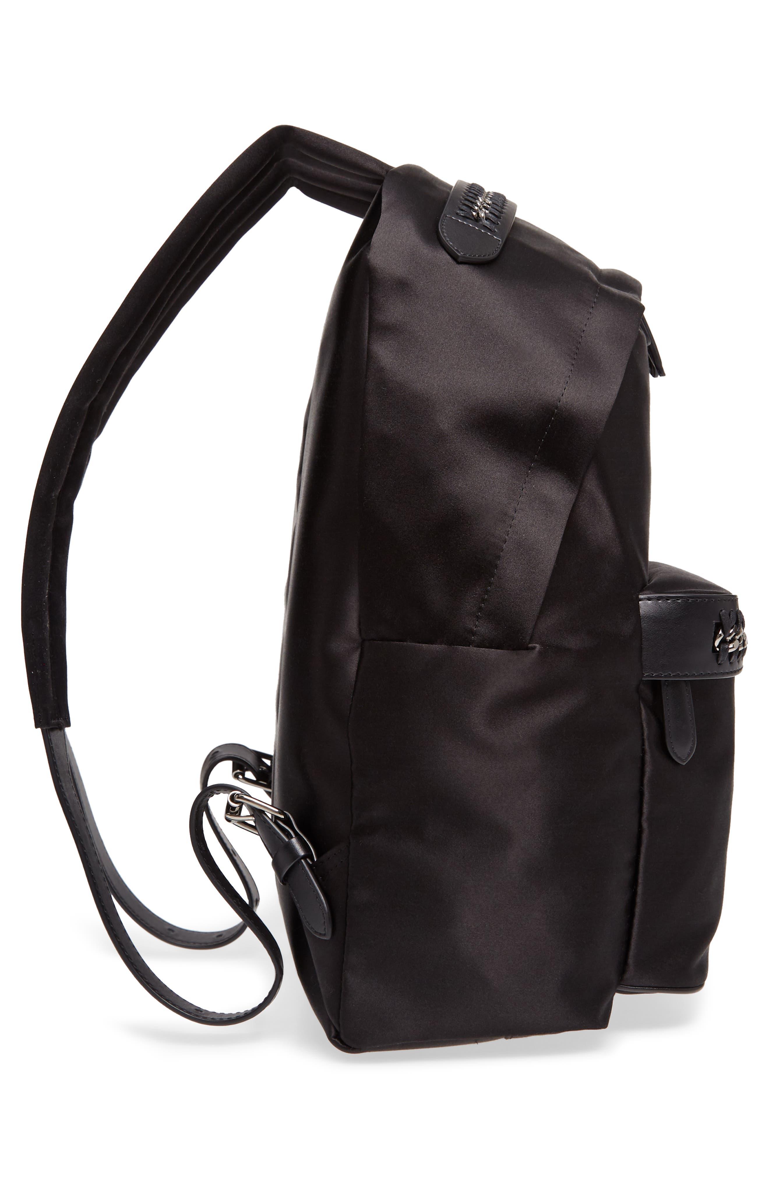 Logo Embossed Satin Backpack,                             Alternate thumbnail 5, color,                             Black