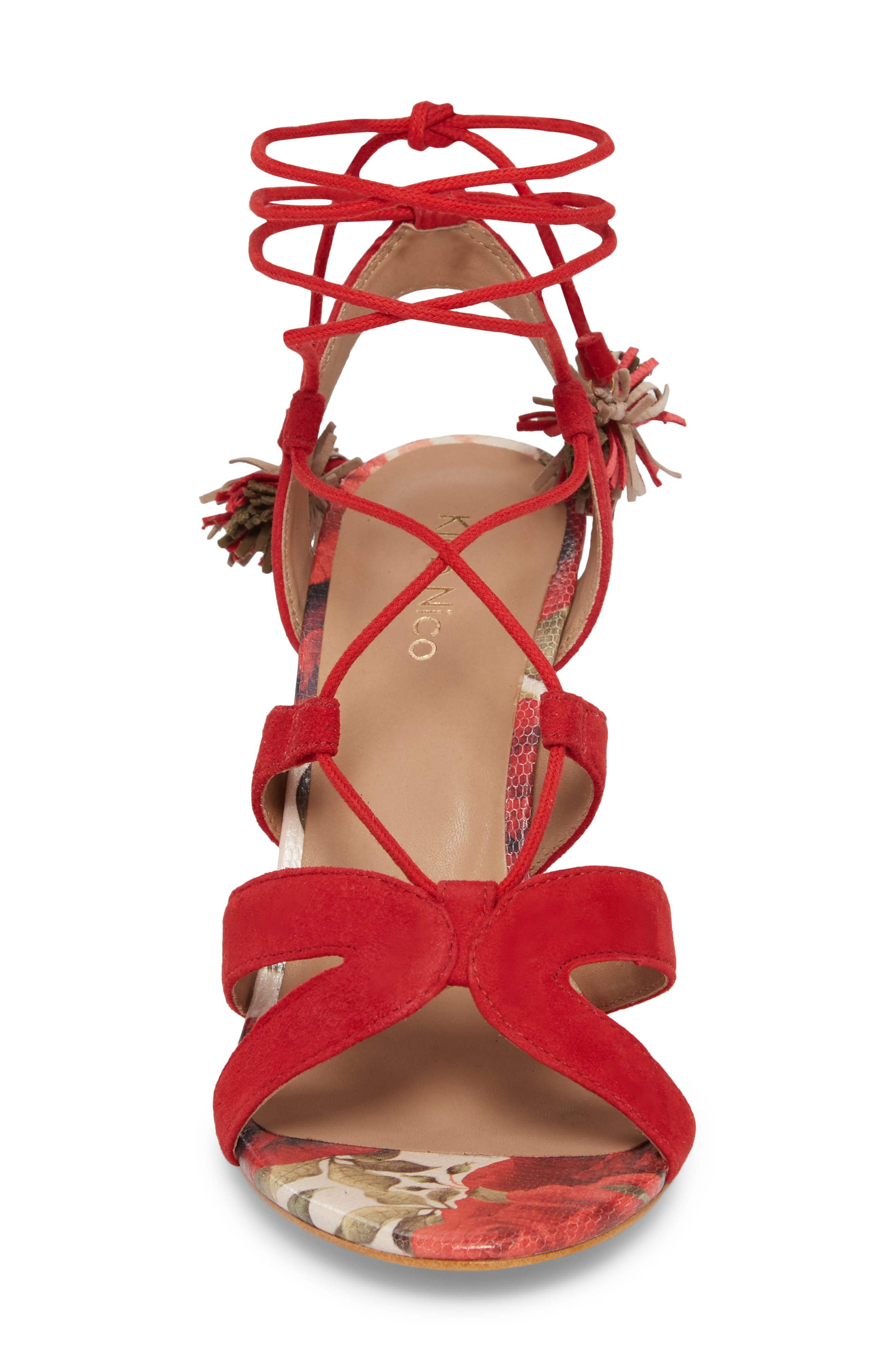 Maxine Sandal,                             Alternate thumbnail 4, color,                             Red Suede