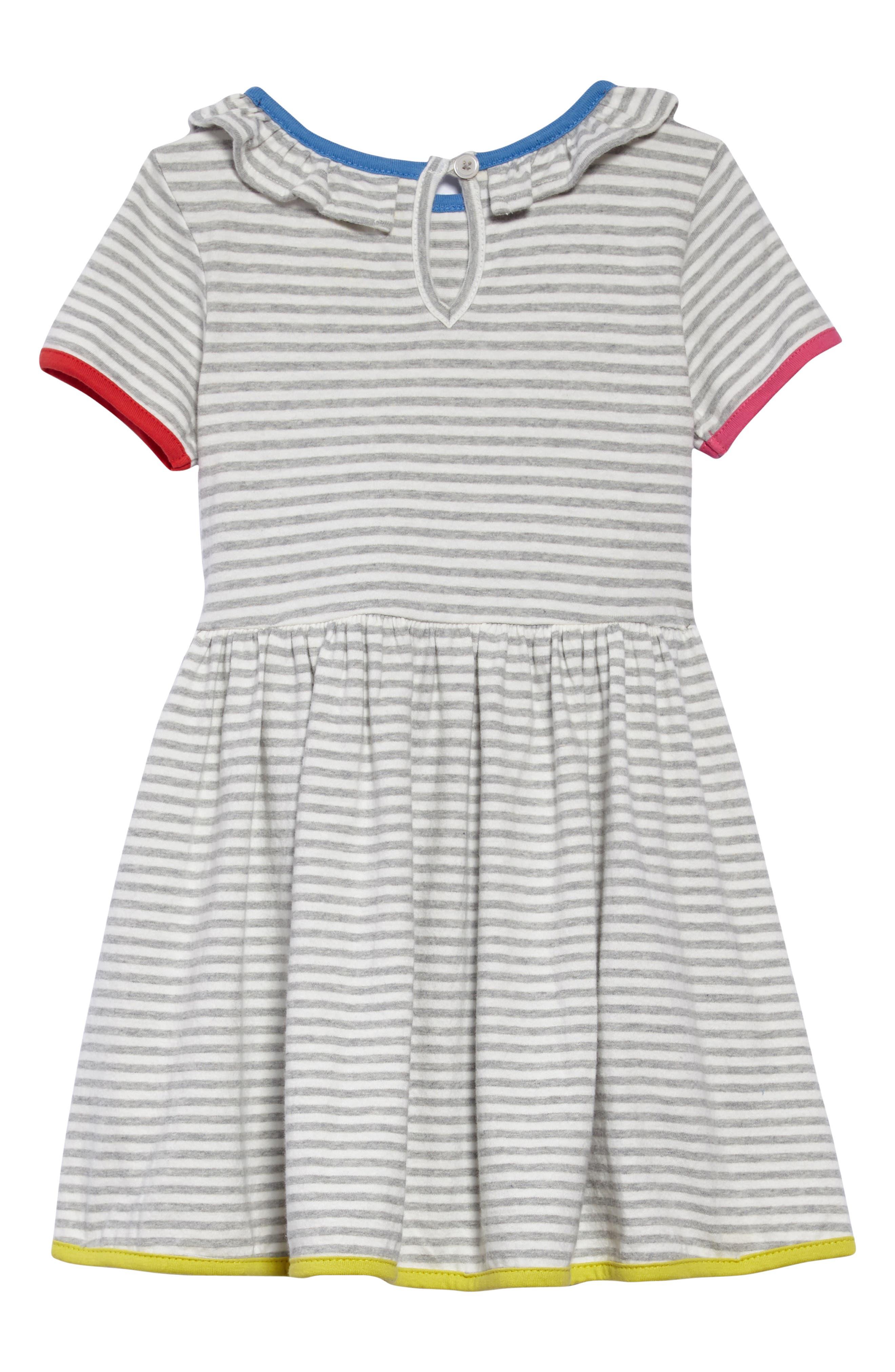 Stripe Jersey Dress,                             Alternate thumbnail 2, color,                             Ecru/ Grey Marl