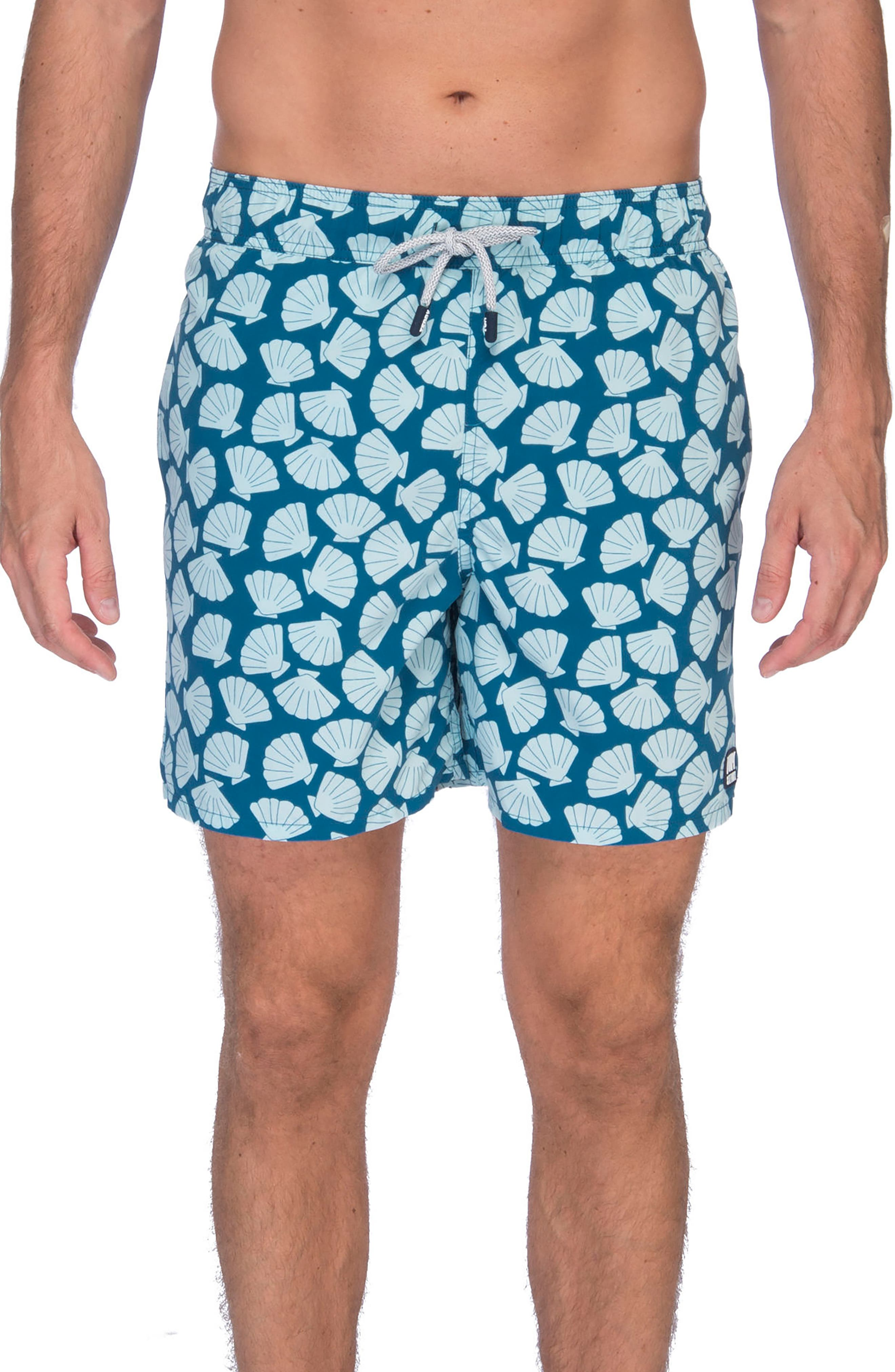 Shell Print Swim Trunks,                         Main,                         color, Blue