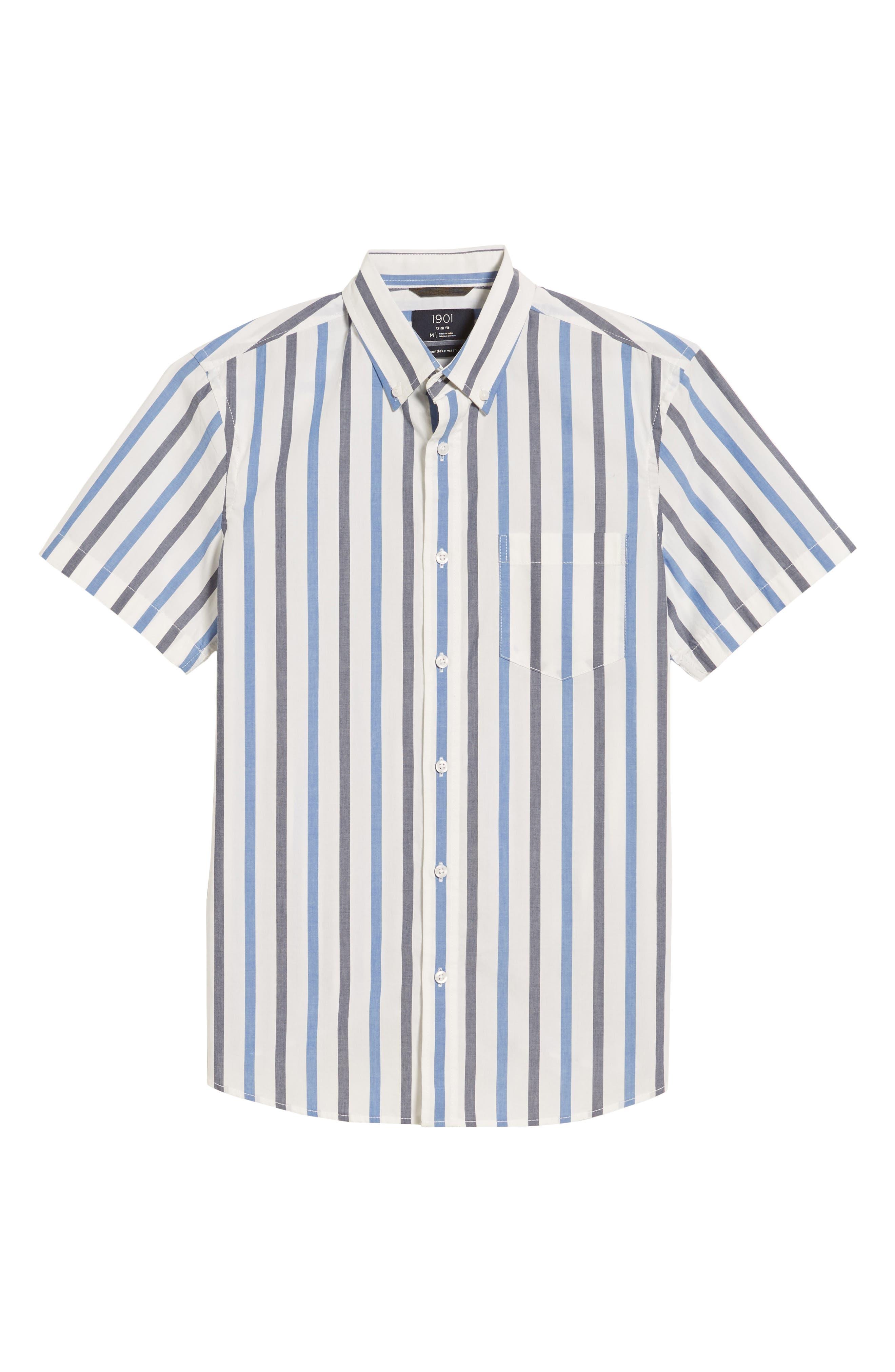 Trim Fit Stripe Stretch Sport Shirt,                             Alternate thumbnail 6, color,                             White Blue Stripe