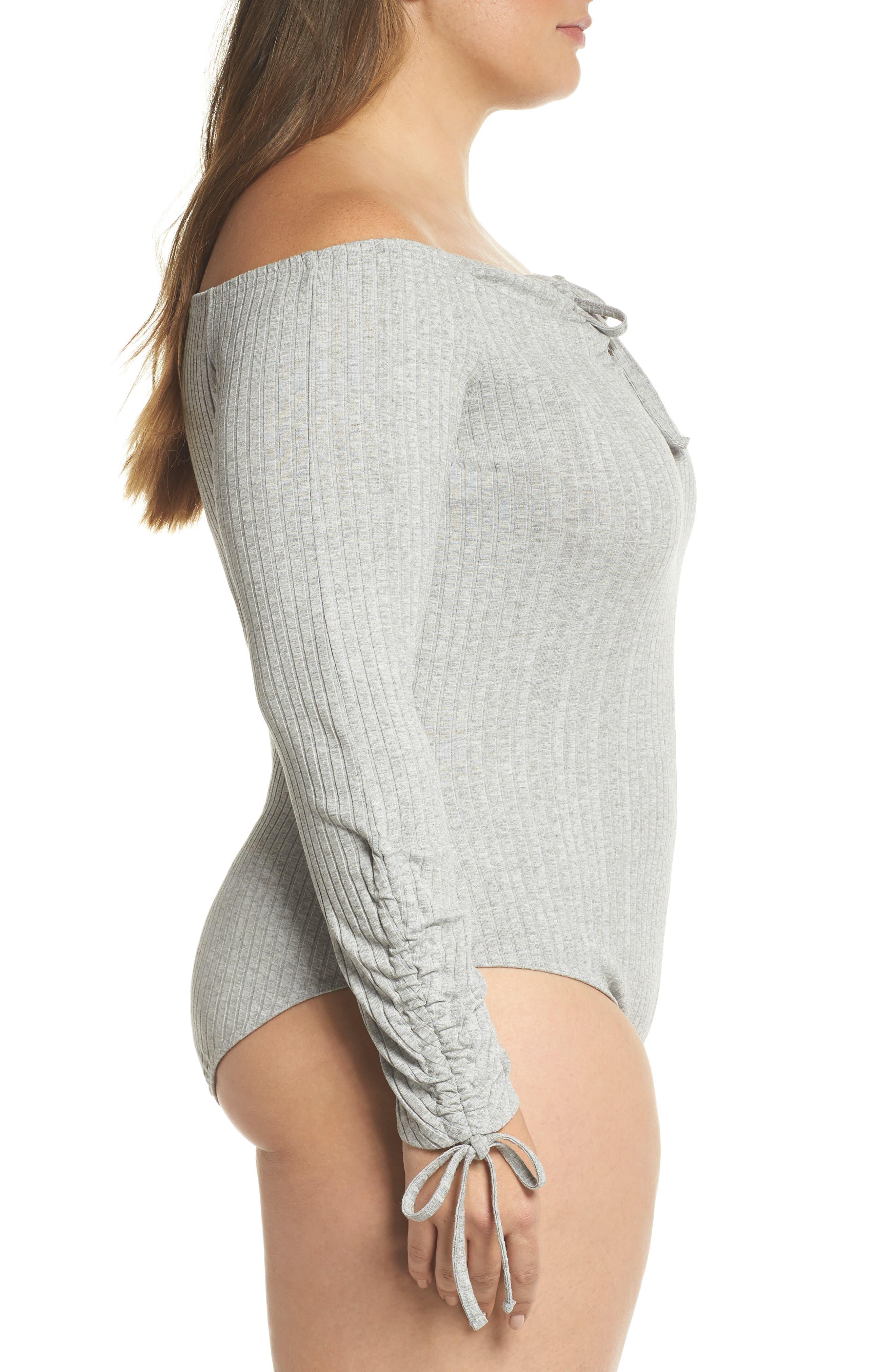 Bardot Ribbed Bodysuit,                             Alternate thumbnail 4, color,                             Grey