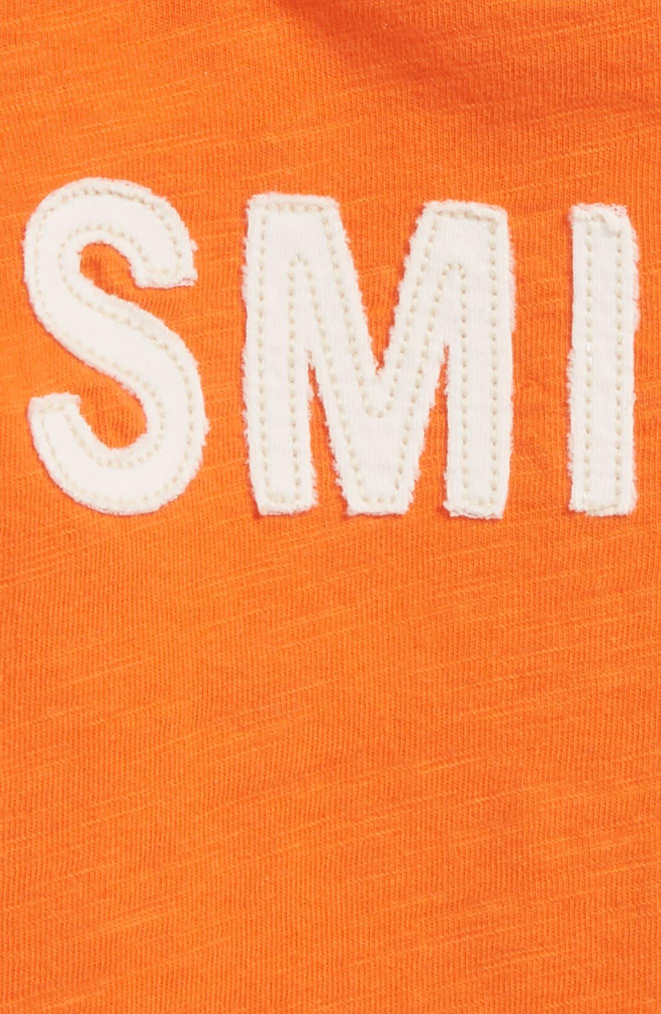 Smile Appliqué T-Shirt,                             Alternate thumbnail 2, color,                             Orange Lily Smiles