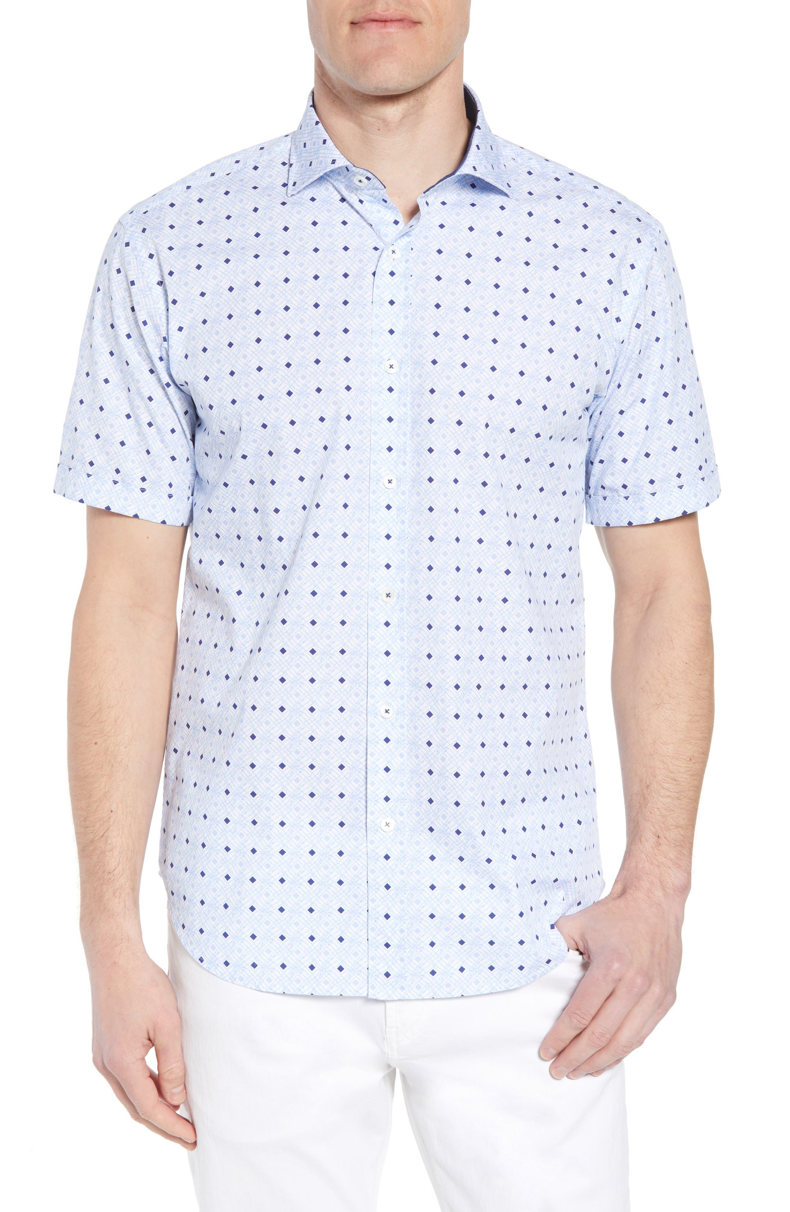 Shaped Fit Geo Print Sport Shirt,                             Main thumbnail 1, color,                             Sky