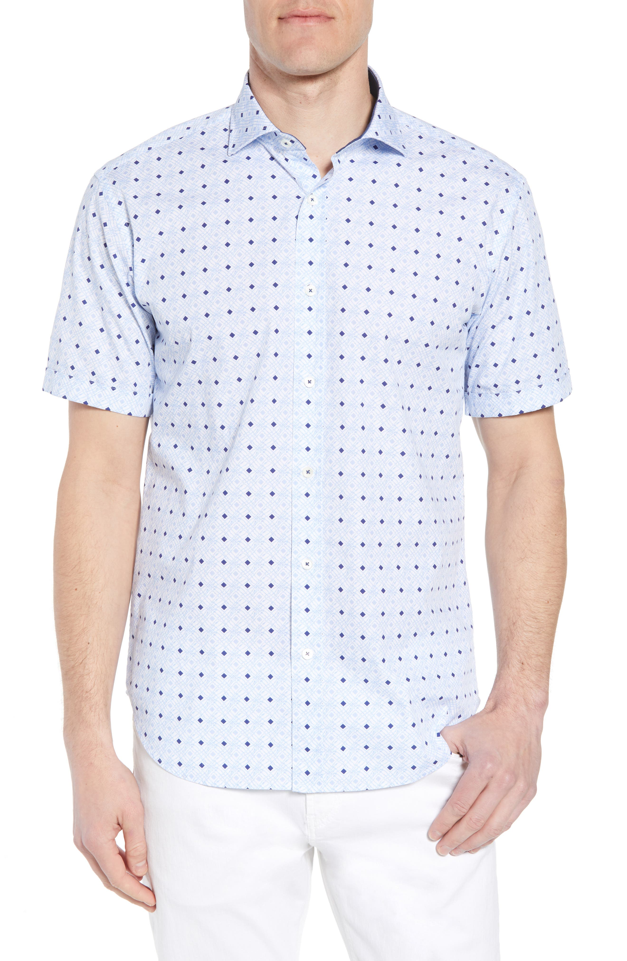 Shaped Fit Geo Print Sport Shirt,                         Main,                         color, Sky