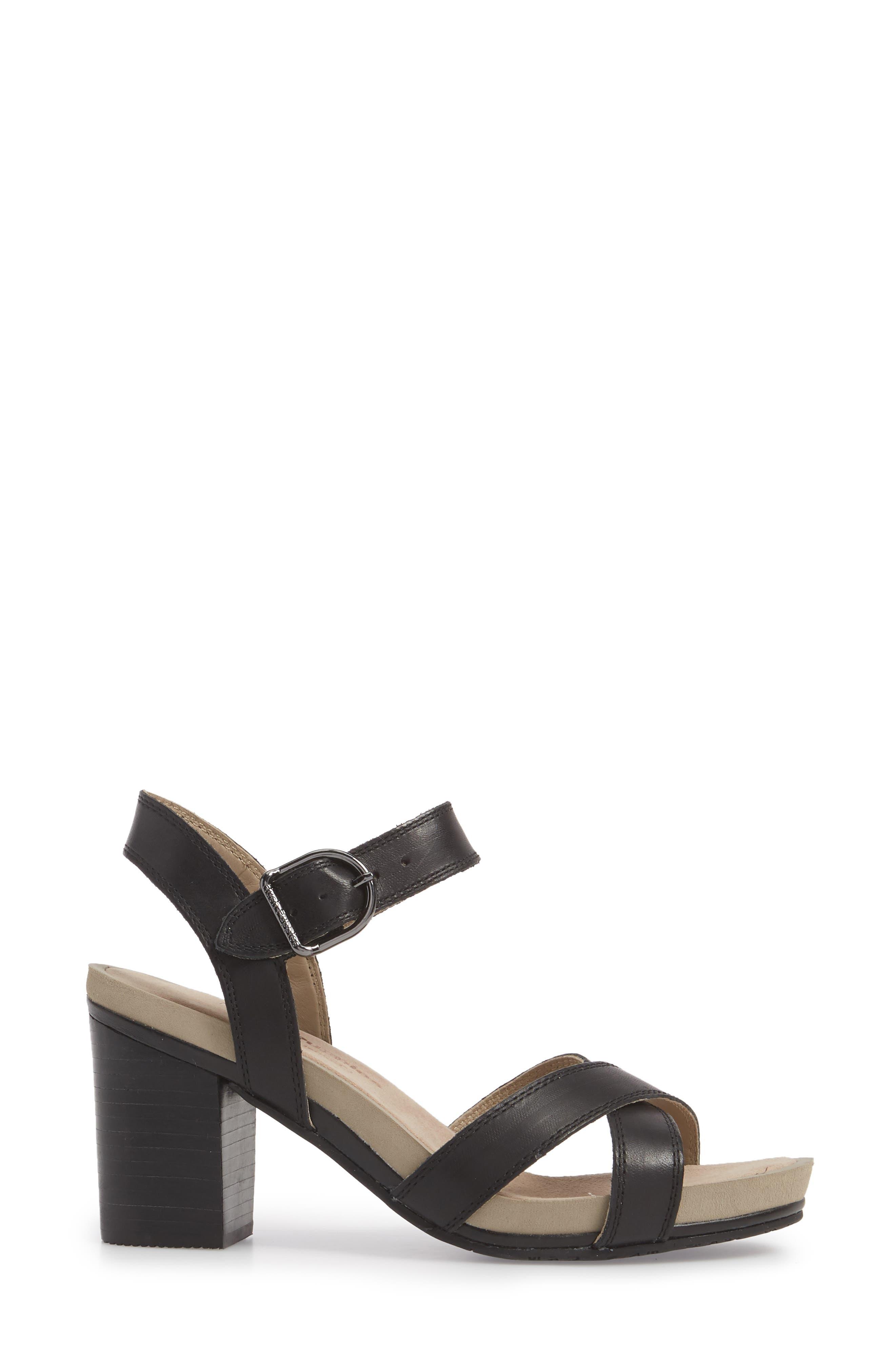Mariska Block Heel Sandal,                             Alternate thumbnail 3, color,                             Black Leather