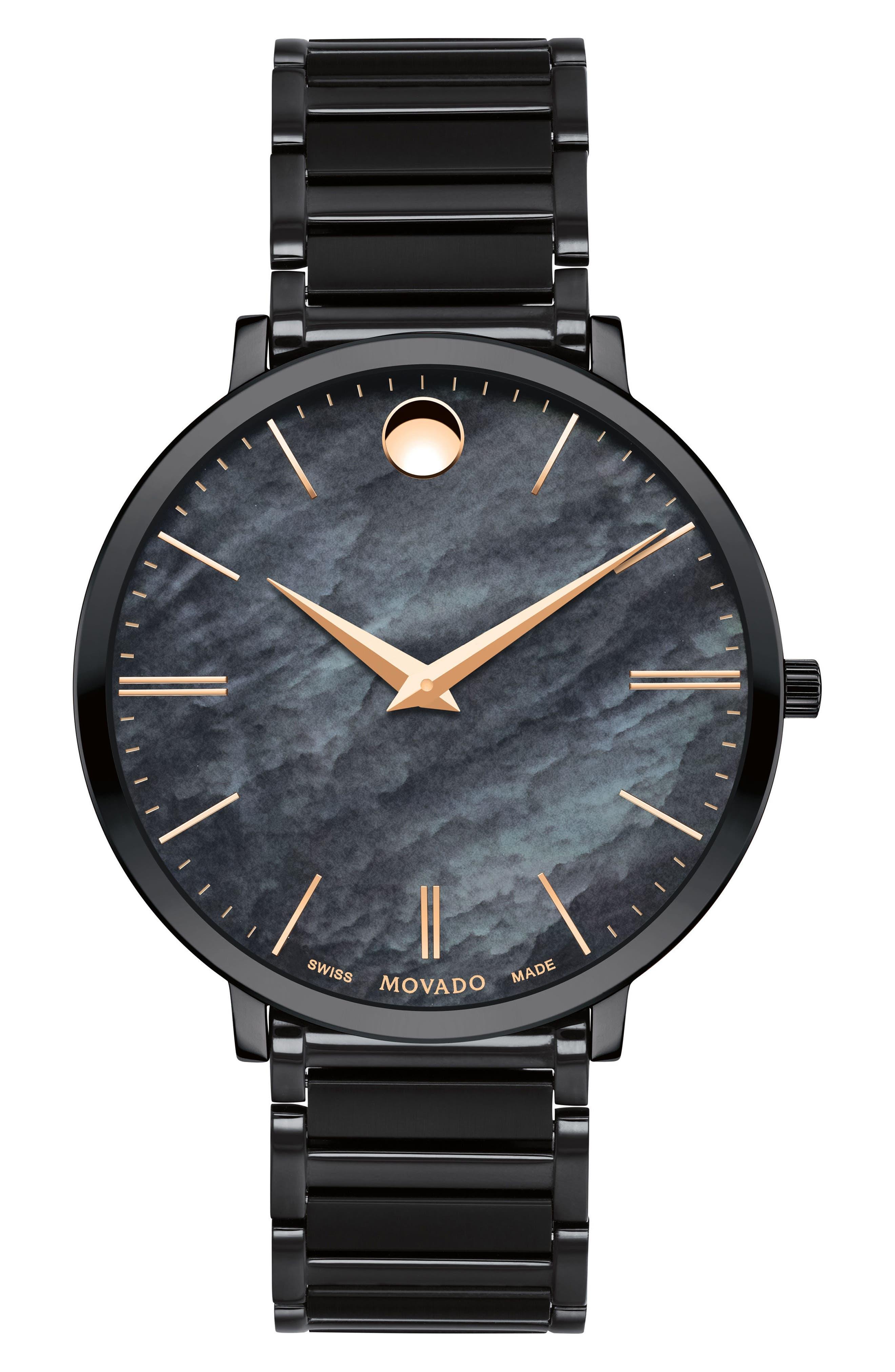 Ultra Slim Bracelet Watch, 35mm,                         Main,                         color, Black/ Rose Gold