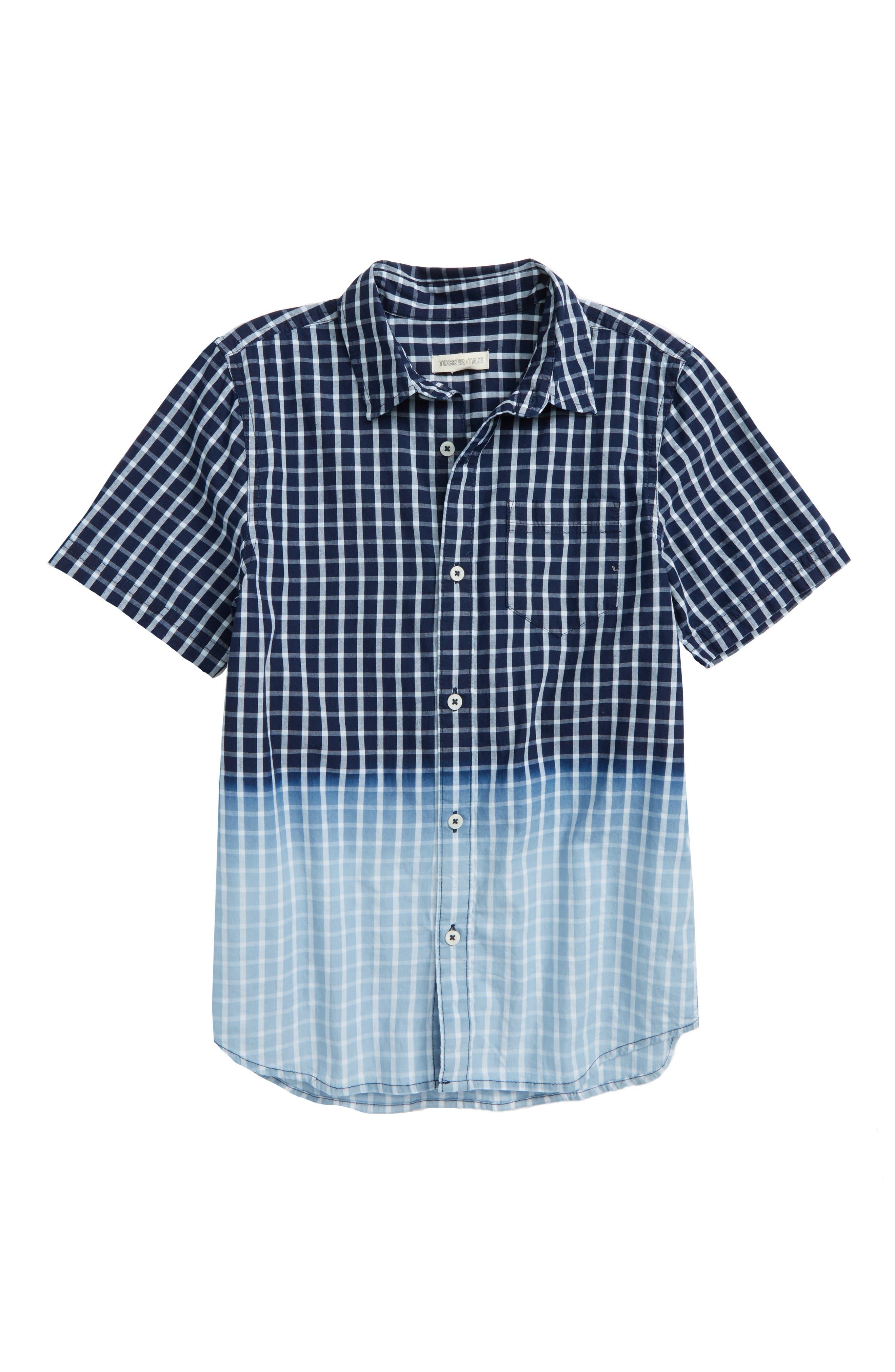 Dip Dye Check Shirt,                         Main,                         color, Navy Denim Plaid