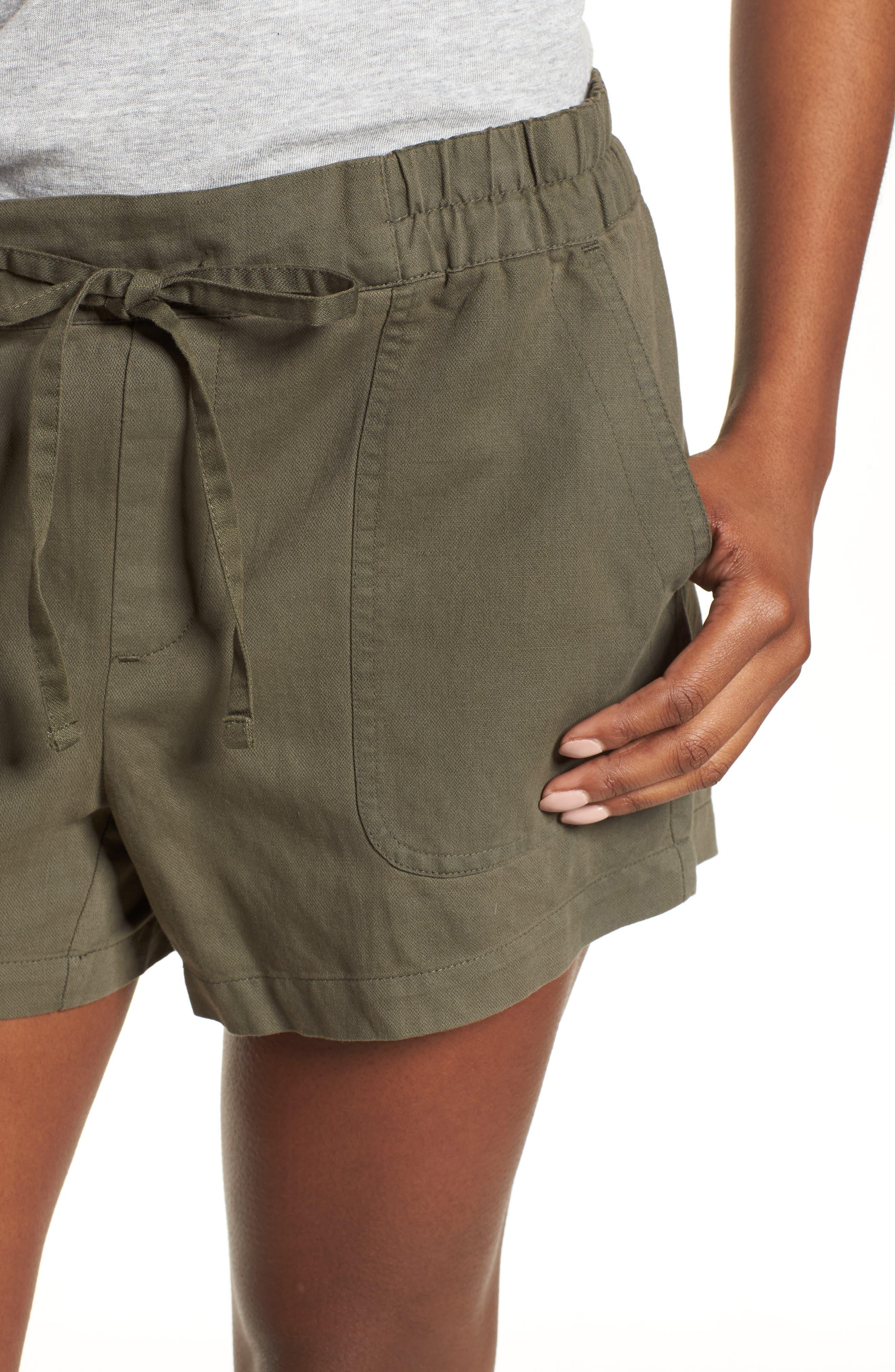 Drawstring Cotton Shorts,                             Alternate thumbnail 4, color,                             Pine