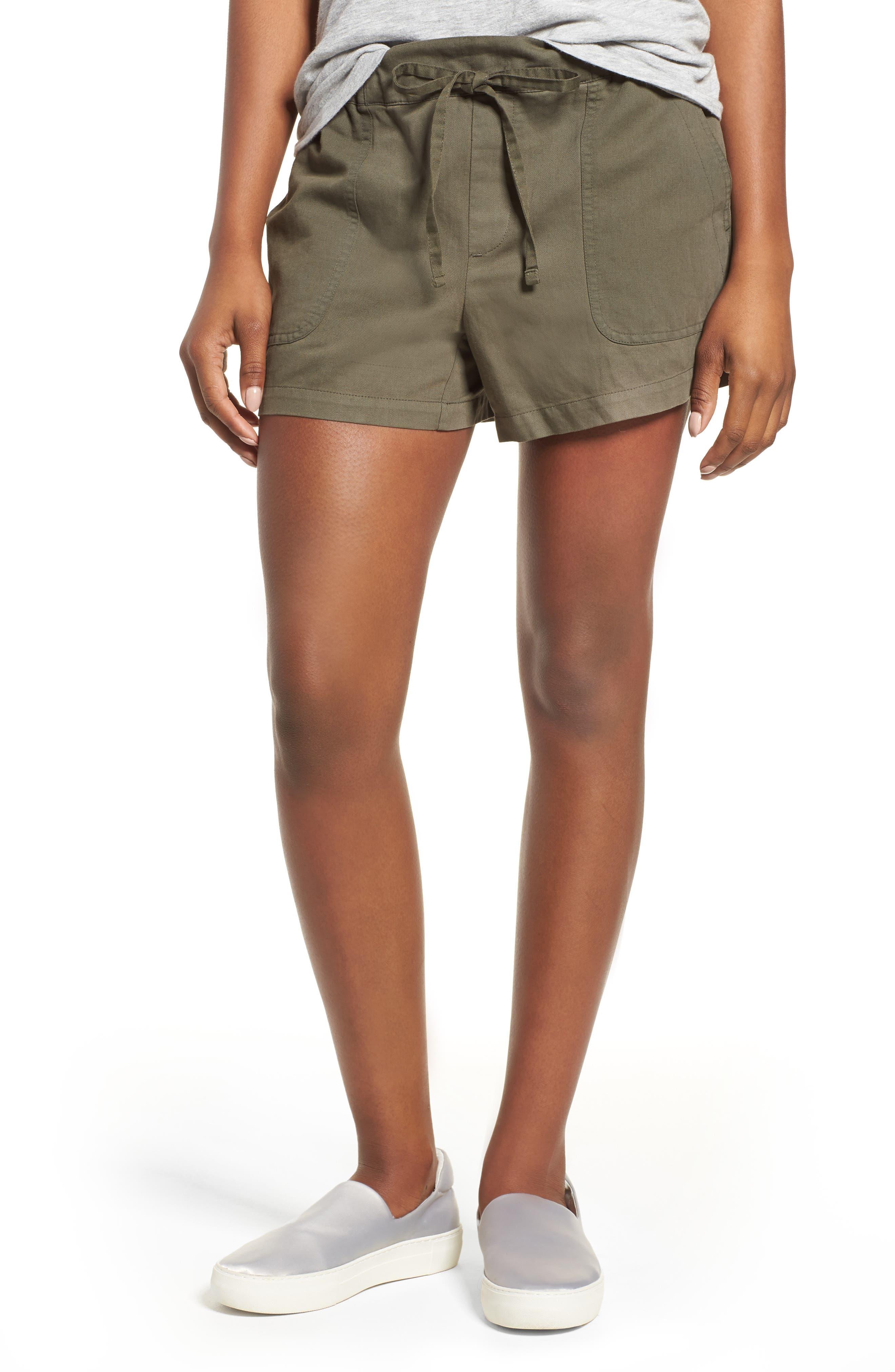 Drawstring Cotton Shorts,                         Main,                         color, Pine