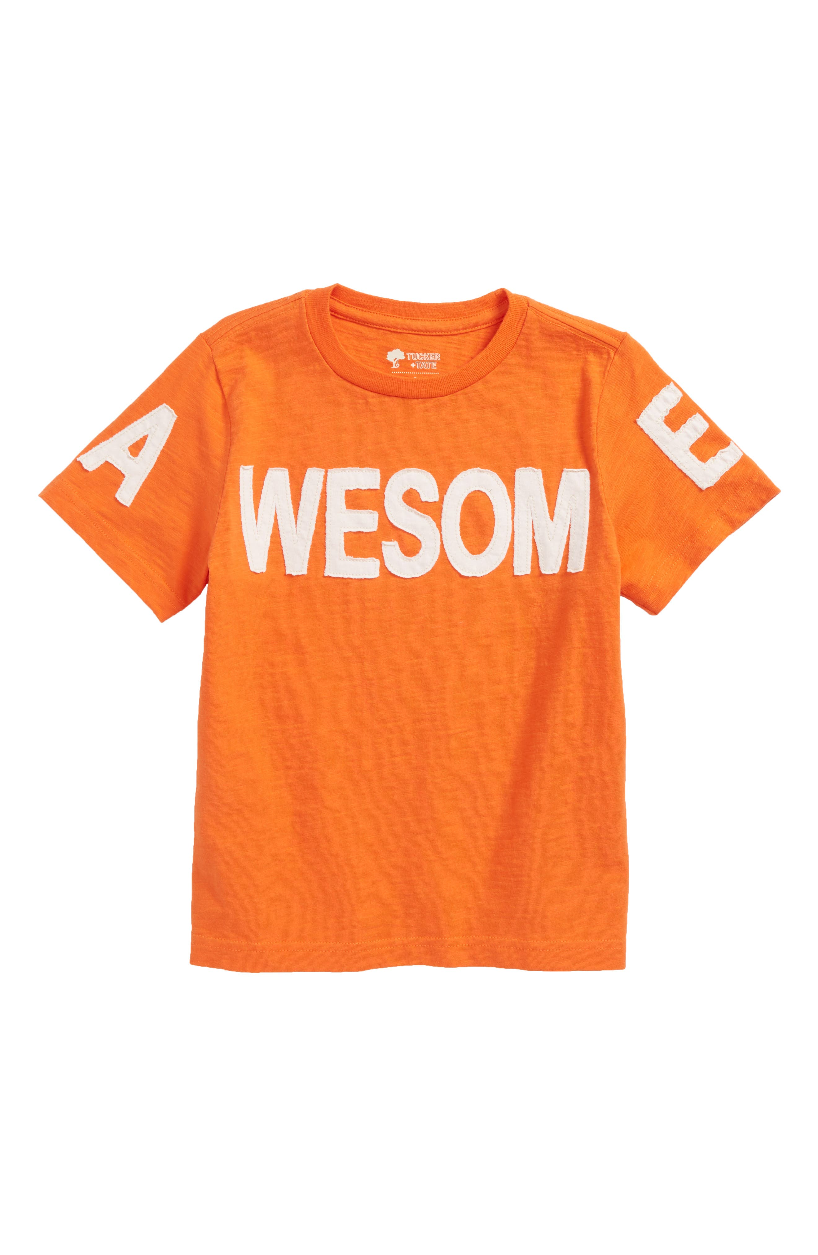 Awesome Appliqué T-Shirt,                             Main thumbnail 1, color,                             Orange Lily Awesome