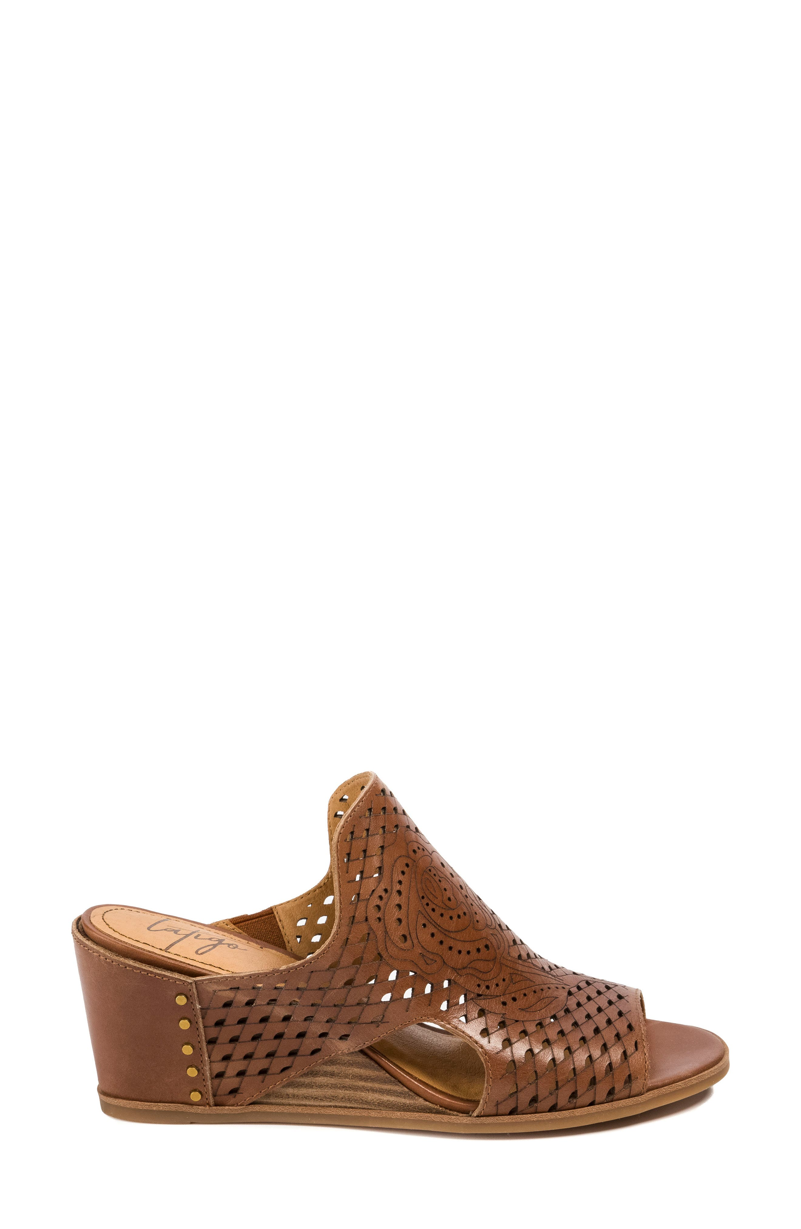 Janis Laser Cut Wedge Sandal,                             Alternate thumbnail 3, color,                             Brush Brown Leather