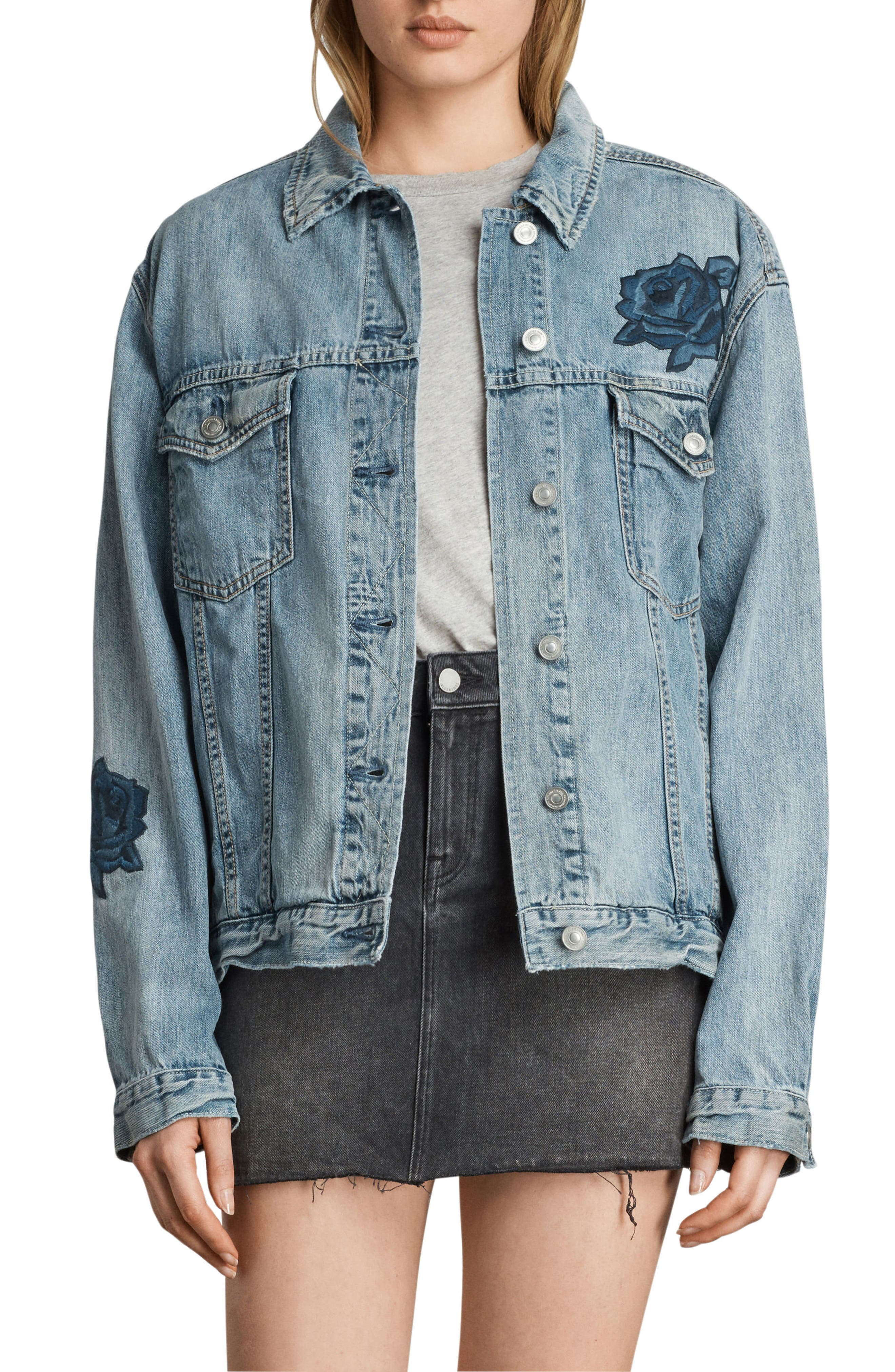 Rose Embroidered Oversize Denim Jacket,                             Main thumbnail 1, color,                             Indigo Blue