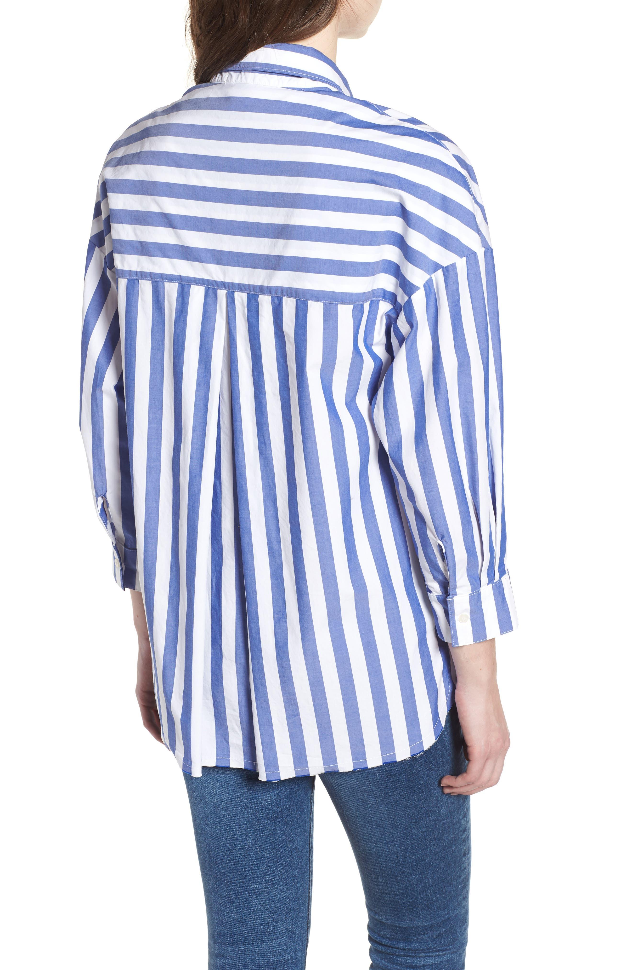 Stripe Oversize Shirt,                             Alternate thumbnail 2, color,                             Blue Stripe