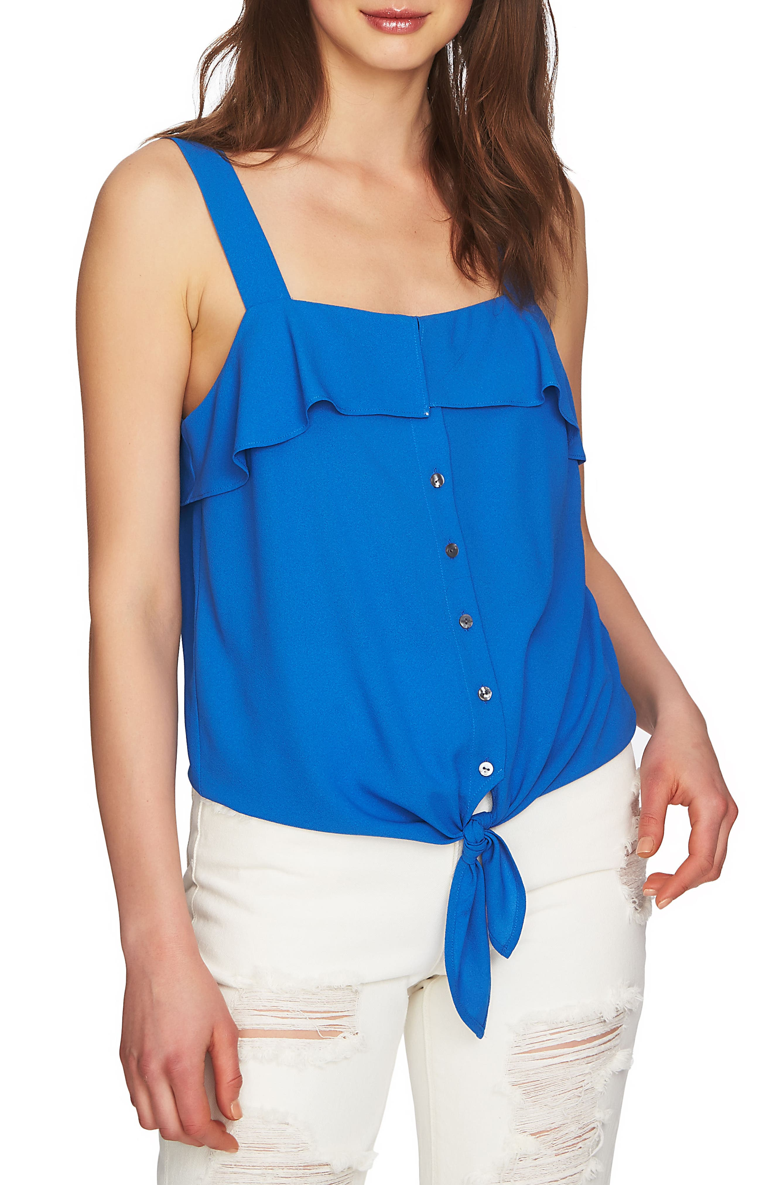 Tie Front Blouse,                         Main,                         color, Zen Blue