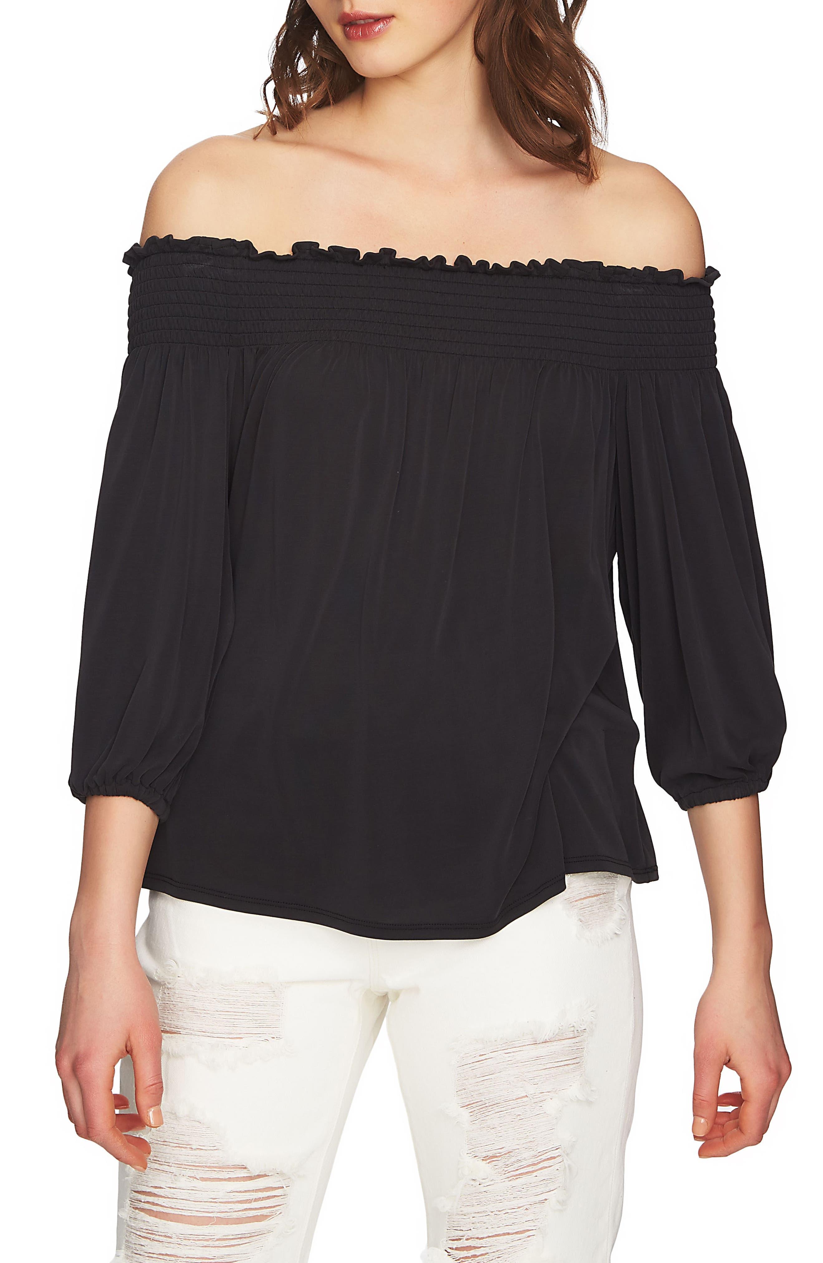 Slit Sleeve Smocked Off the Shoulder Top,                         Main,                         color, Rich Black