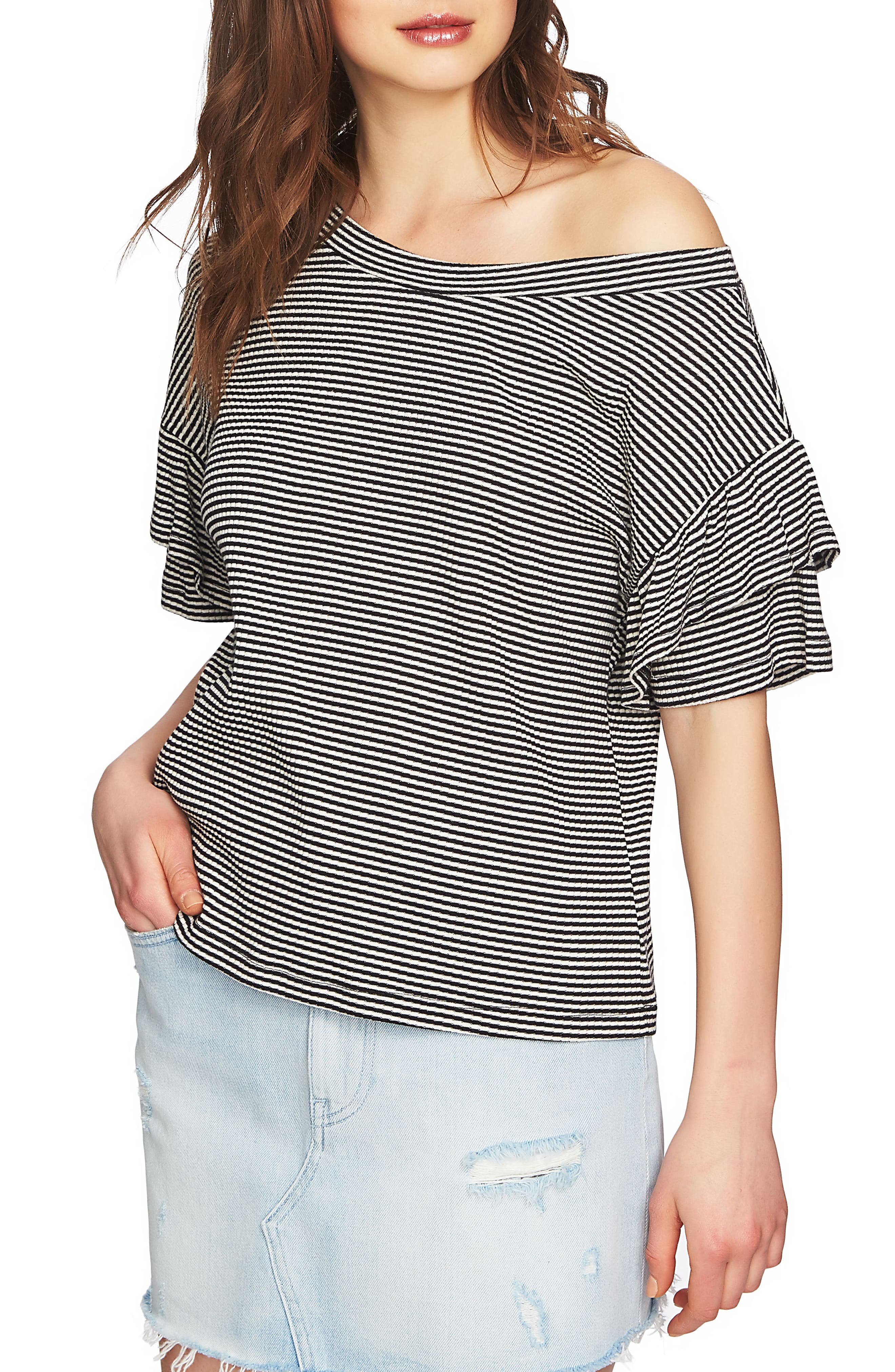 Ruffle Off the Shoulder Tee,                         Main,                         color, Rich Black
