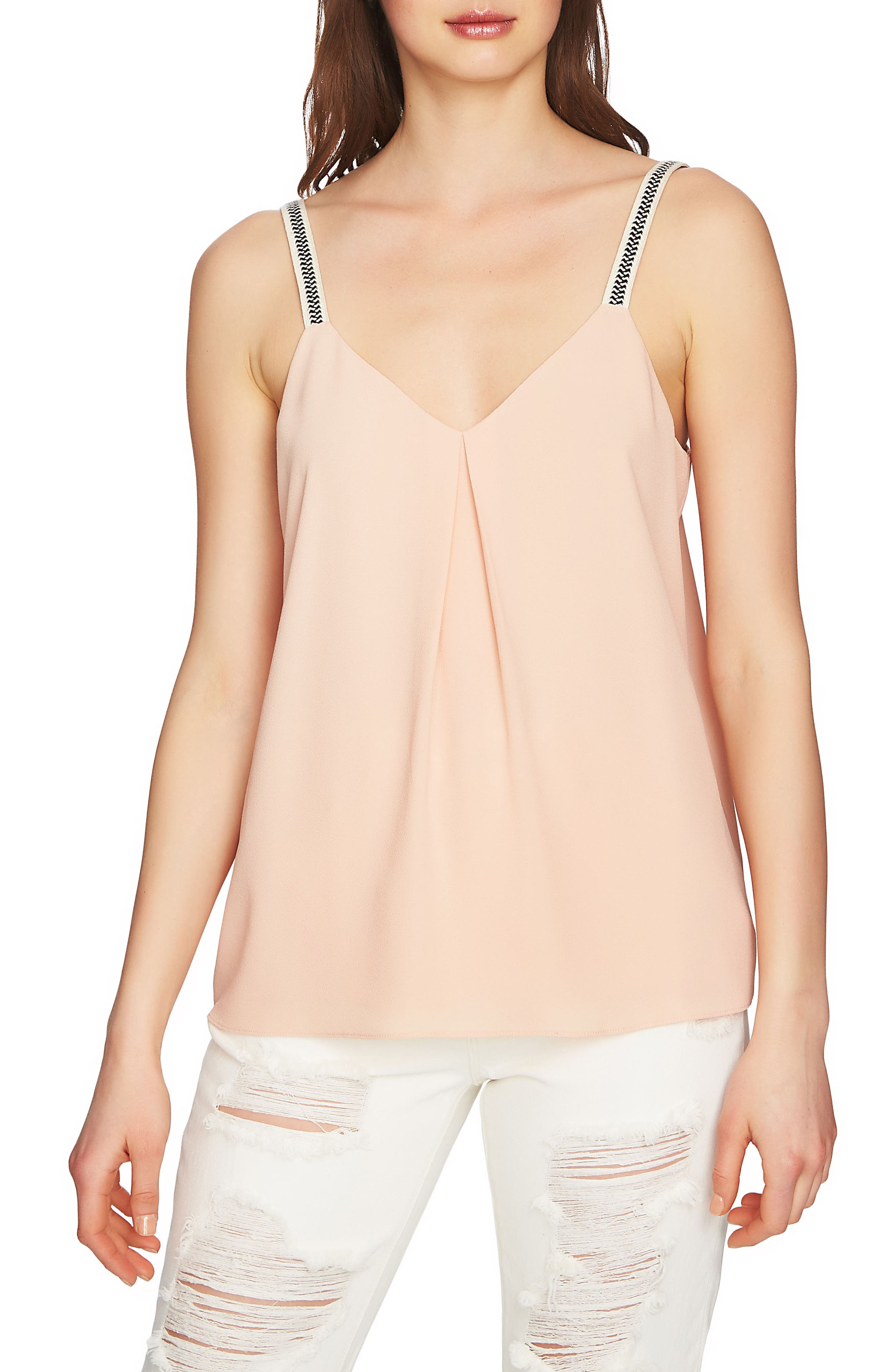 Embroidered Strap Camisole,                             Main thumbnail 1, color,                             Peach Buff