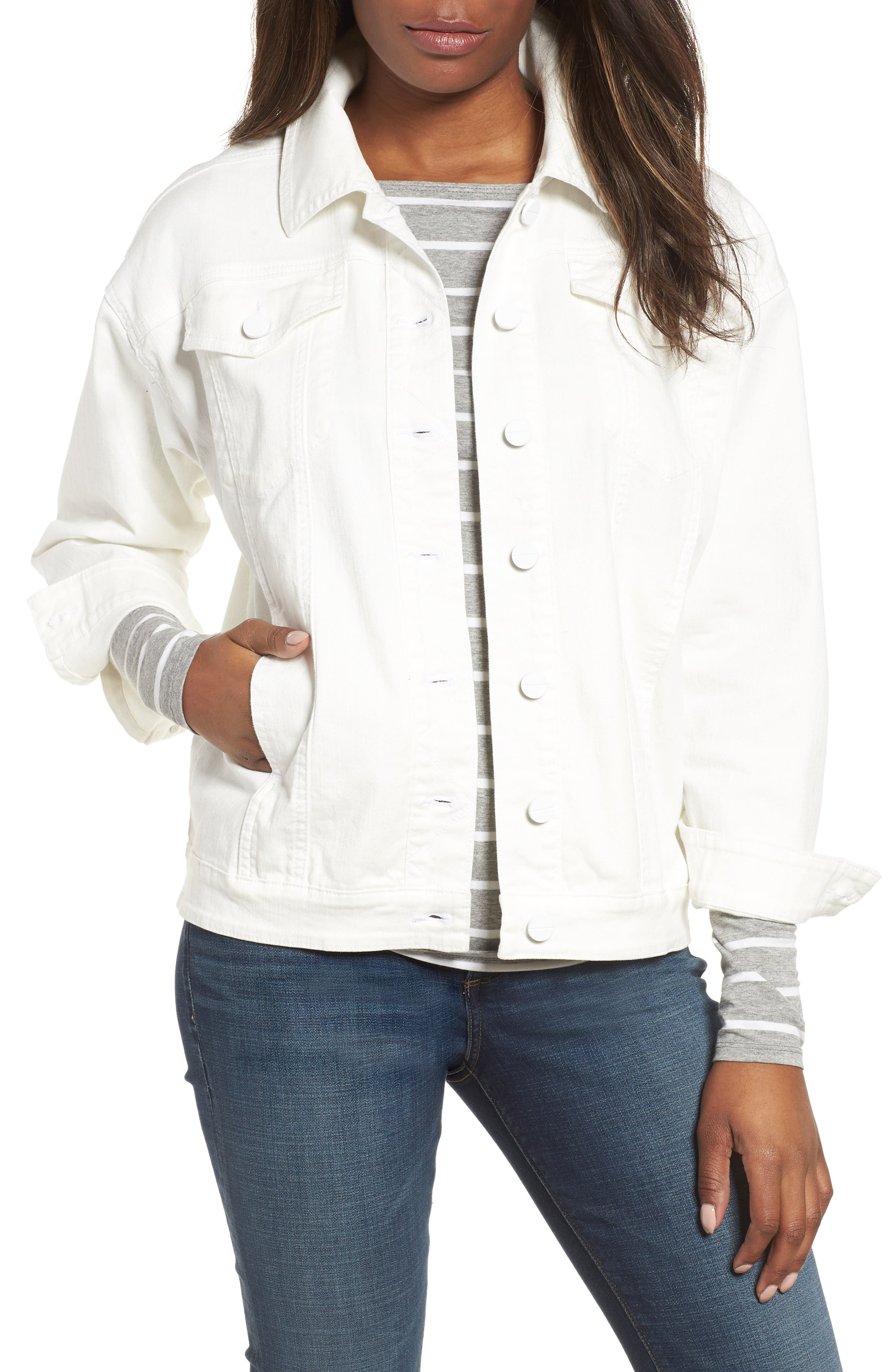 Relaxed White Denim Jacket,                         Main,                         color, White