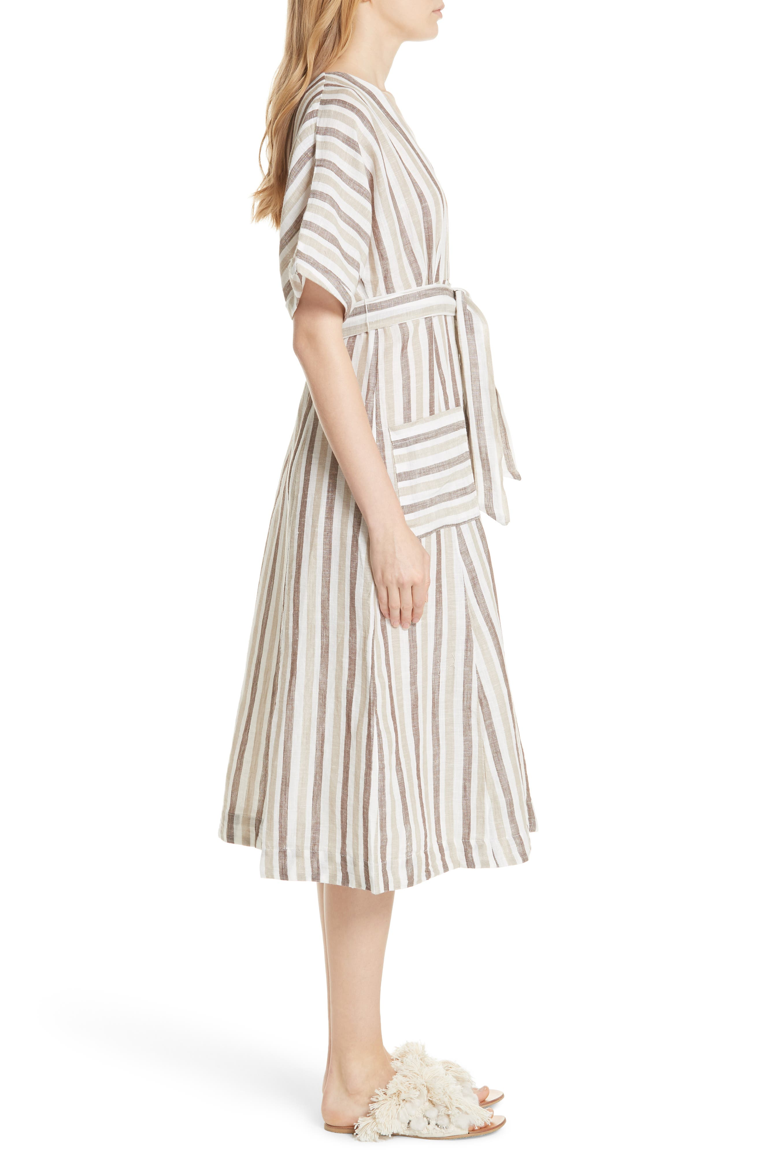 Monday Stripe Linen Blend Midi Dress,                             Alternate thumbnail 5, color,                             Light Grey
