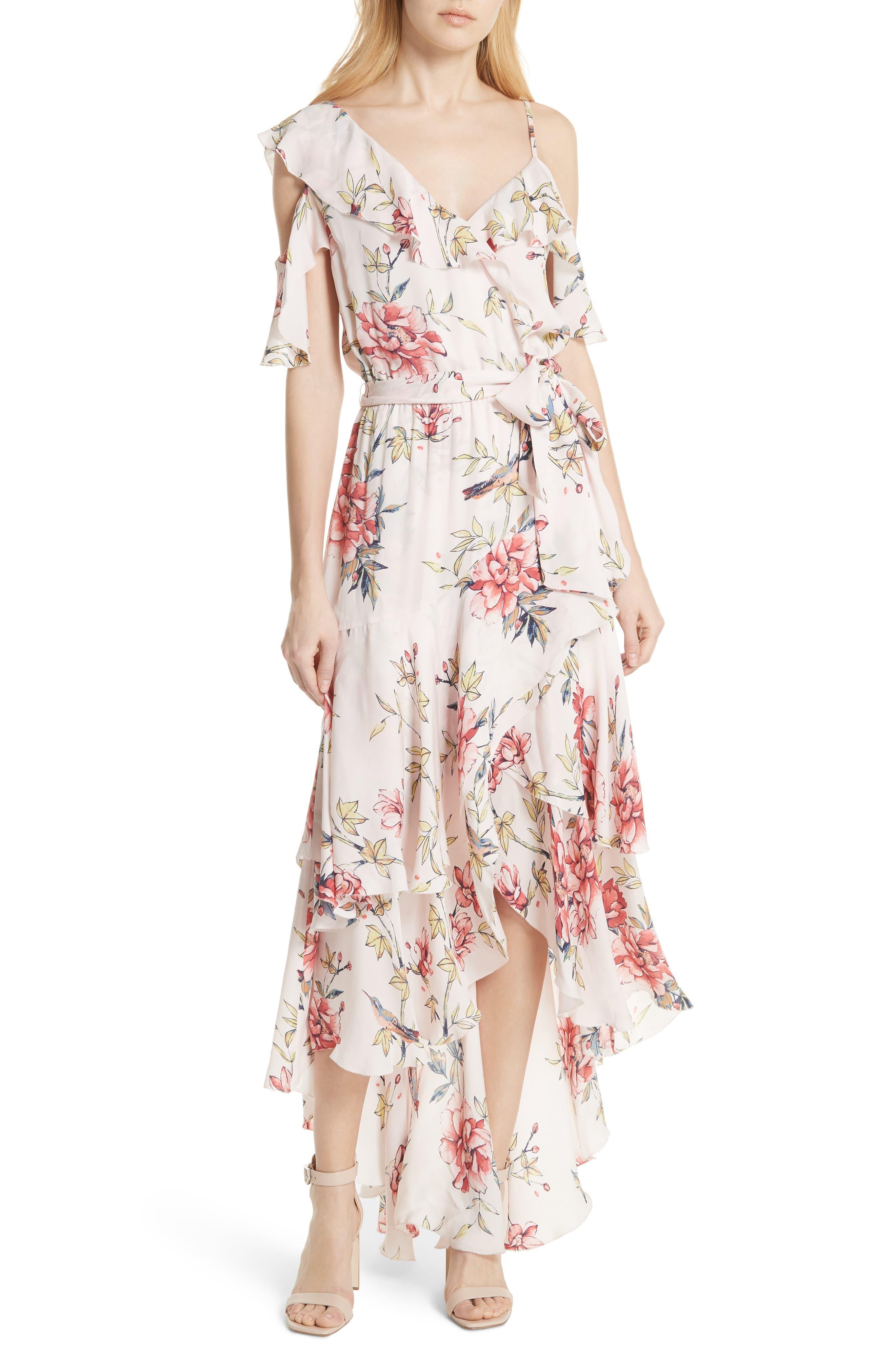 Cristeta Floral Silk Maxi Dress,                         Main,                         color, Rosewater