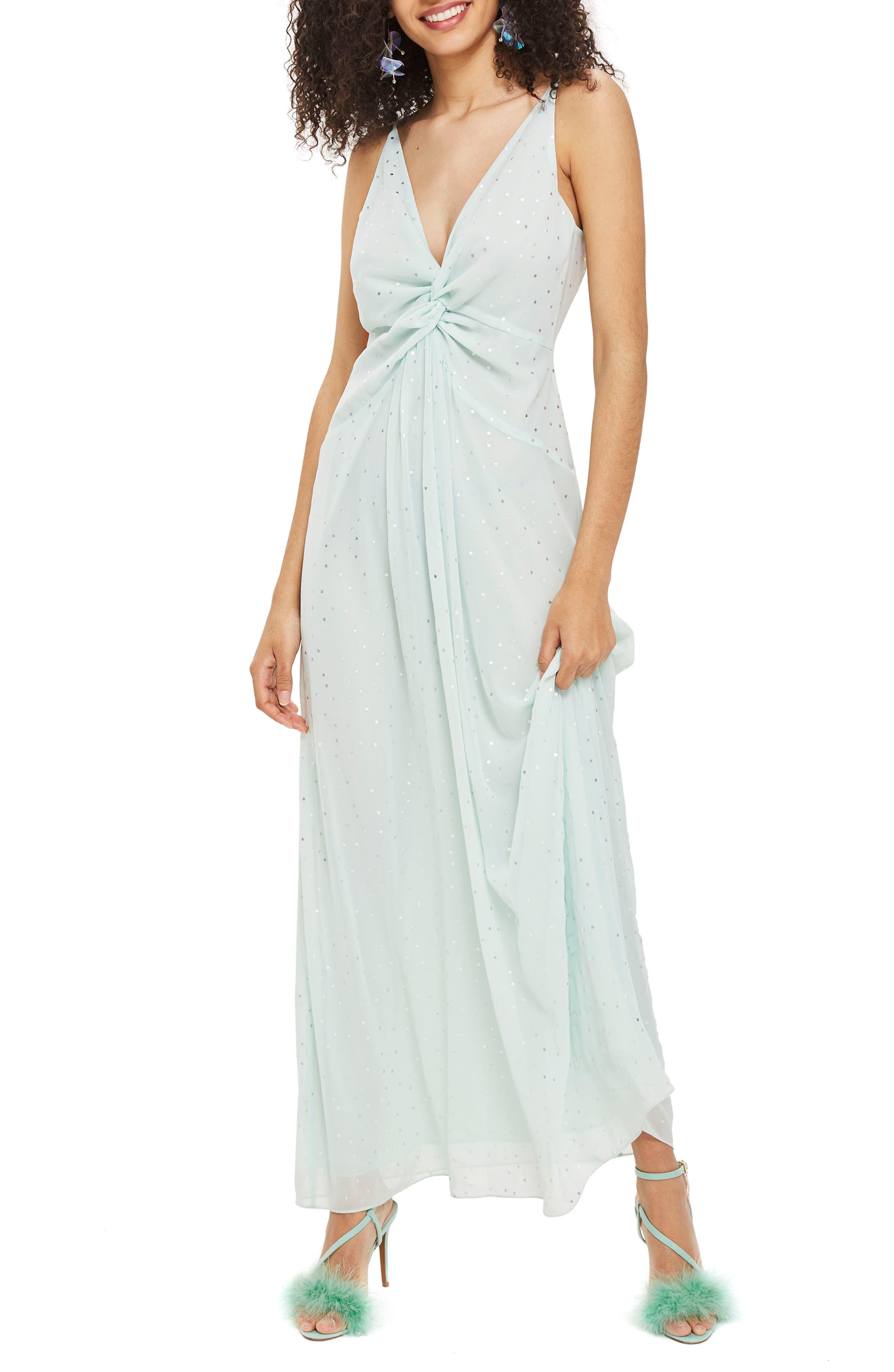 Spot Foil Maxi Dress,                             Main thumbnail 1, color,                             Mint Multi