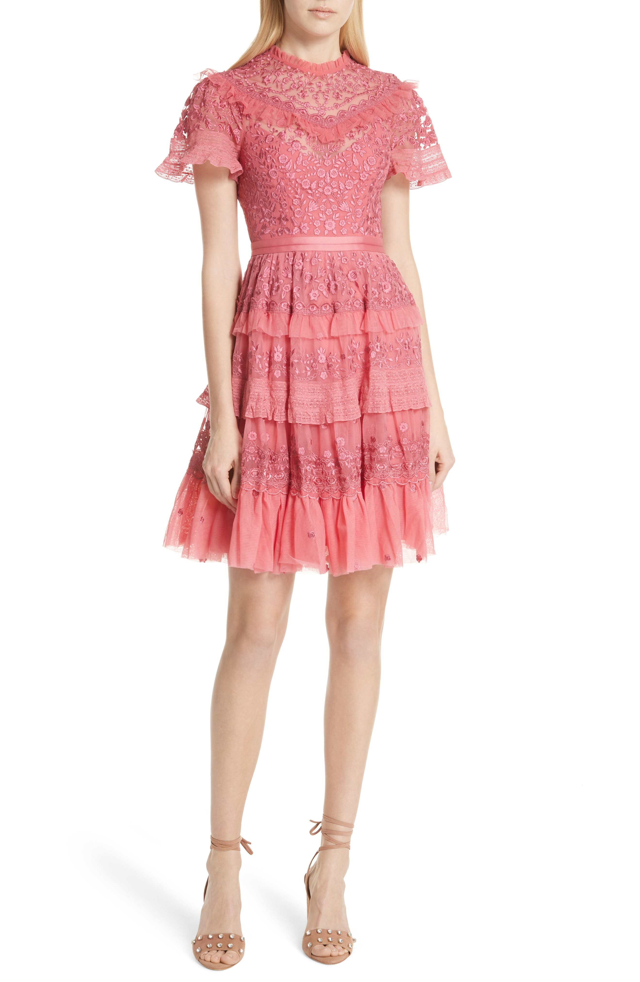 Iris Fit & Flare Dress,                         Main,                         color, Hot Pink