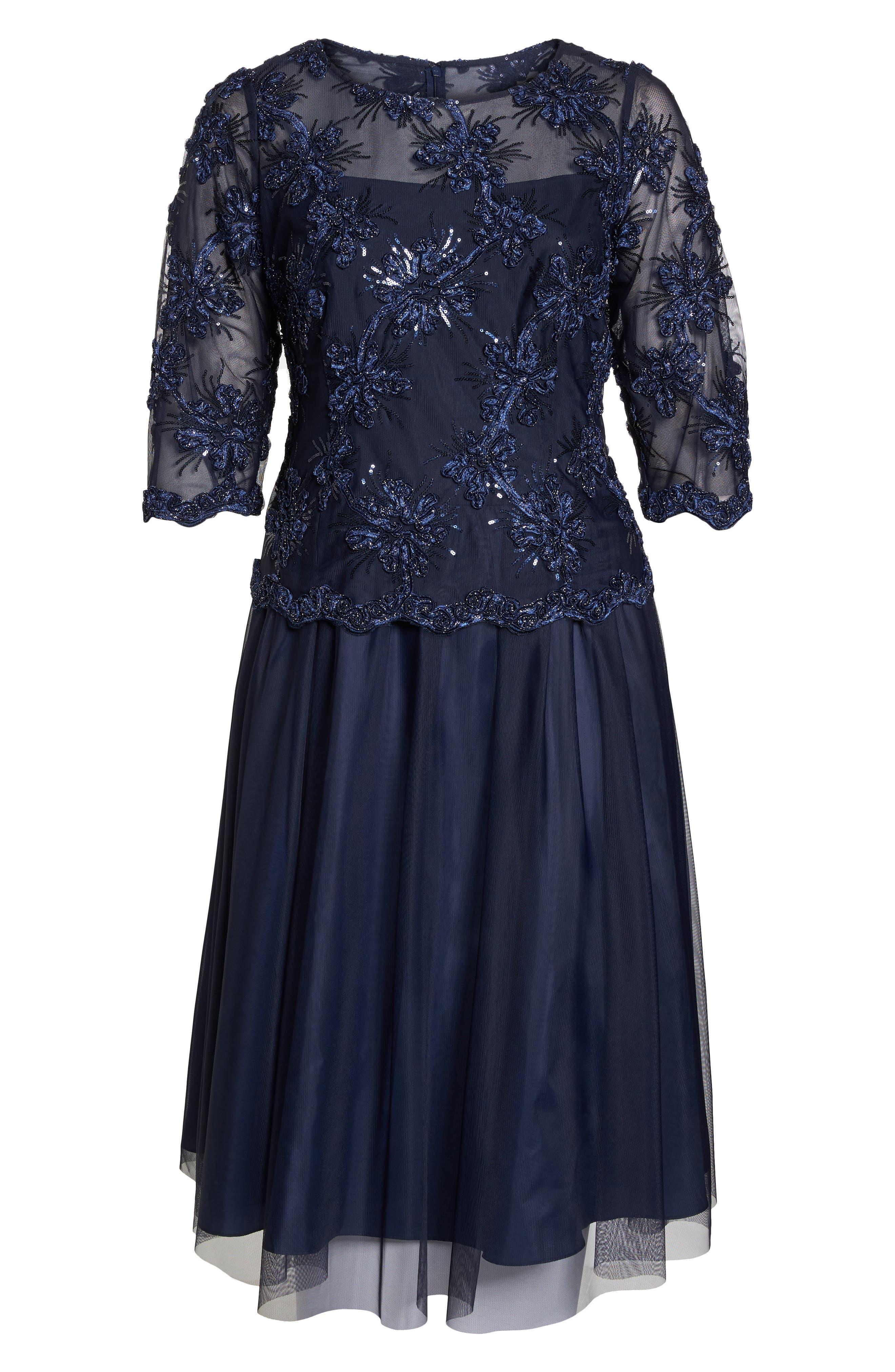 Embellished Bodice Tea Length Mesh Dress,                             Alternate thumbnail 6, color,                             Navy