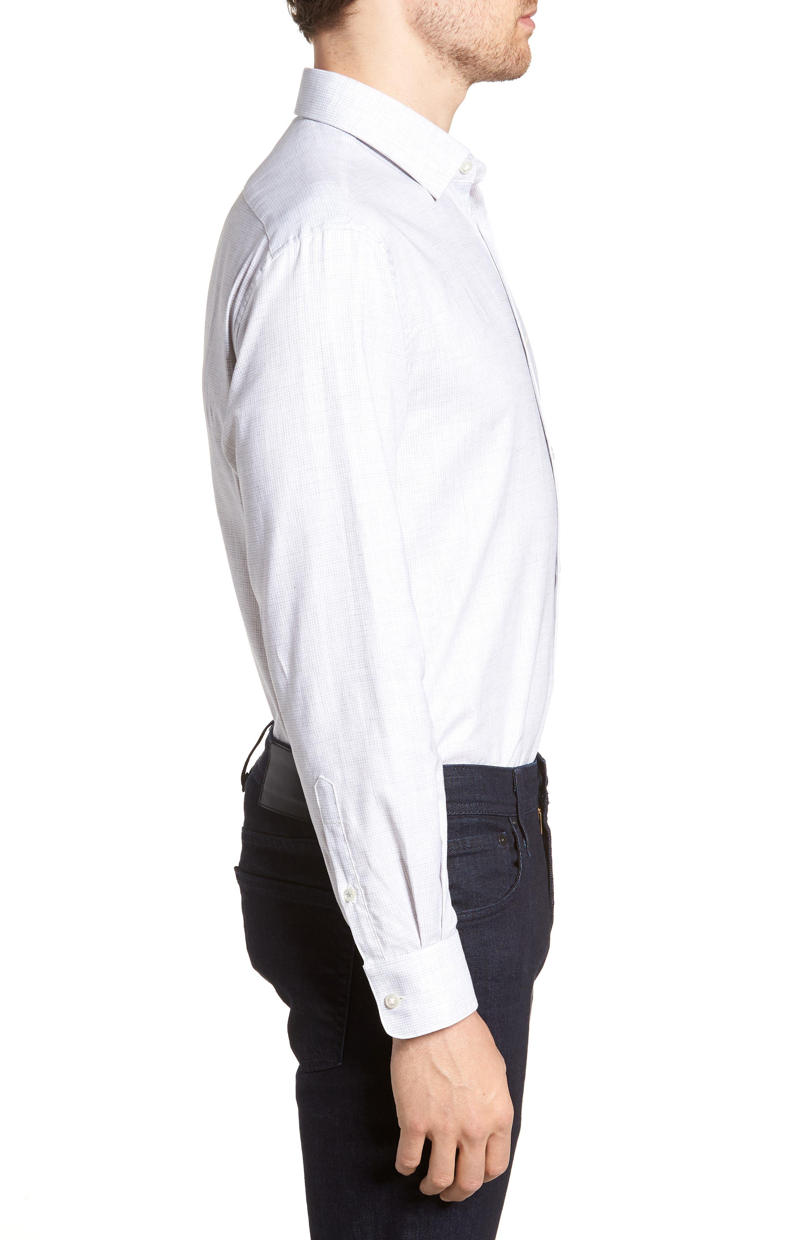 Regular Fit Stretch Check Dress Shirt,                             Alternate thumbnail 4, color,                             Grey