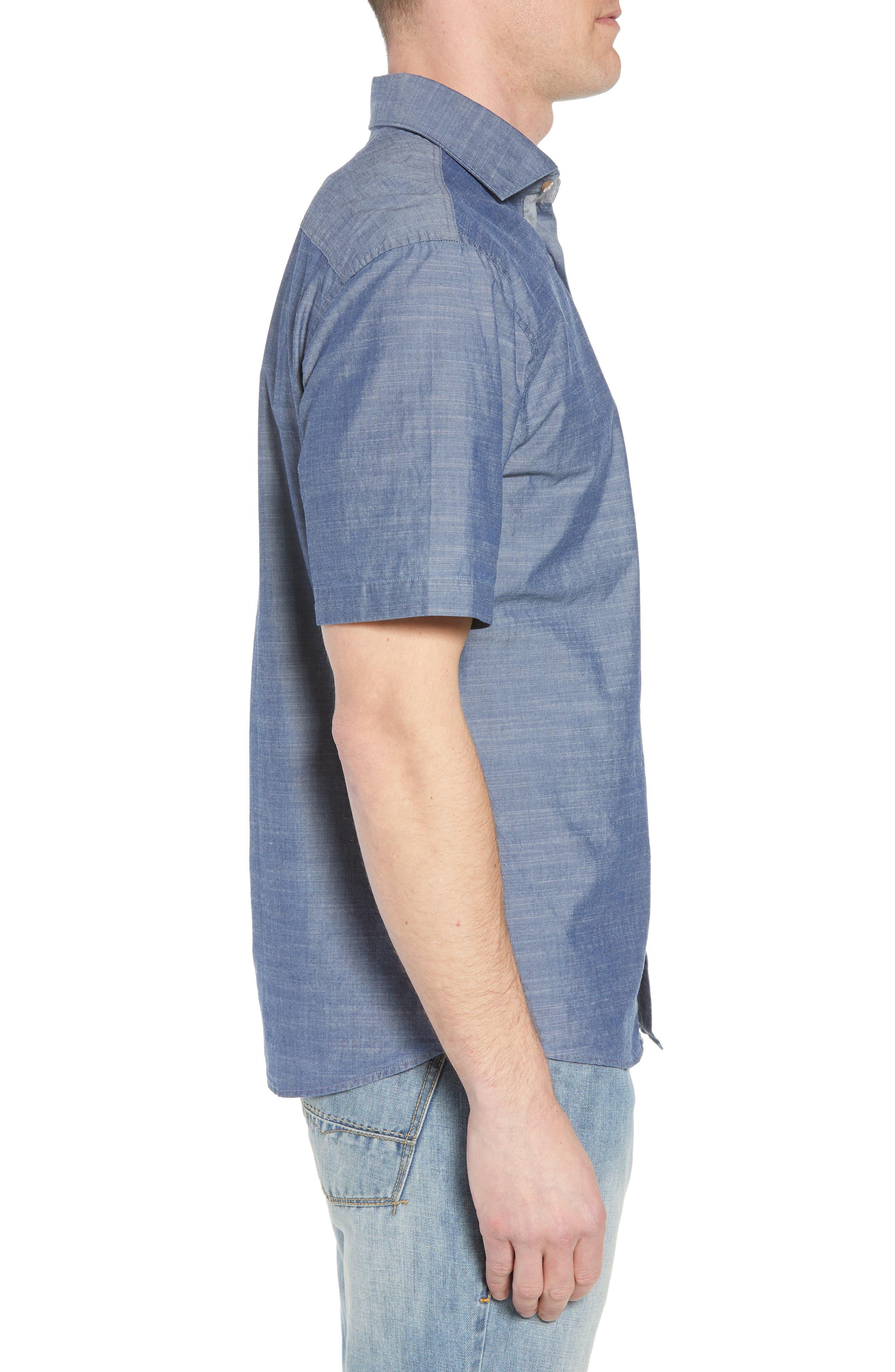 Lucas Regular Fit Chambray Sport Shirt,                             Alternate thumbnail 4, color,                             Indigo