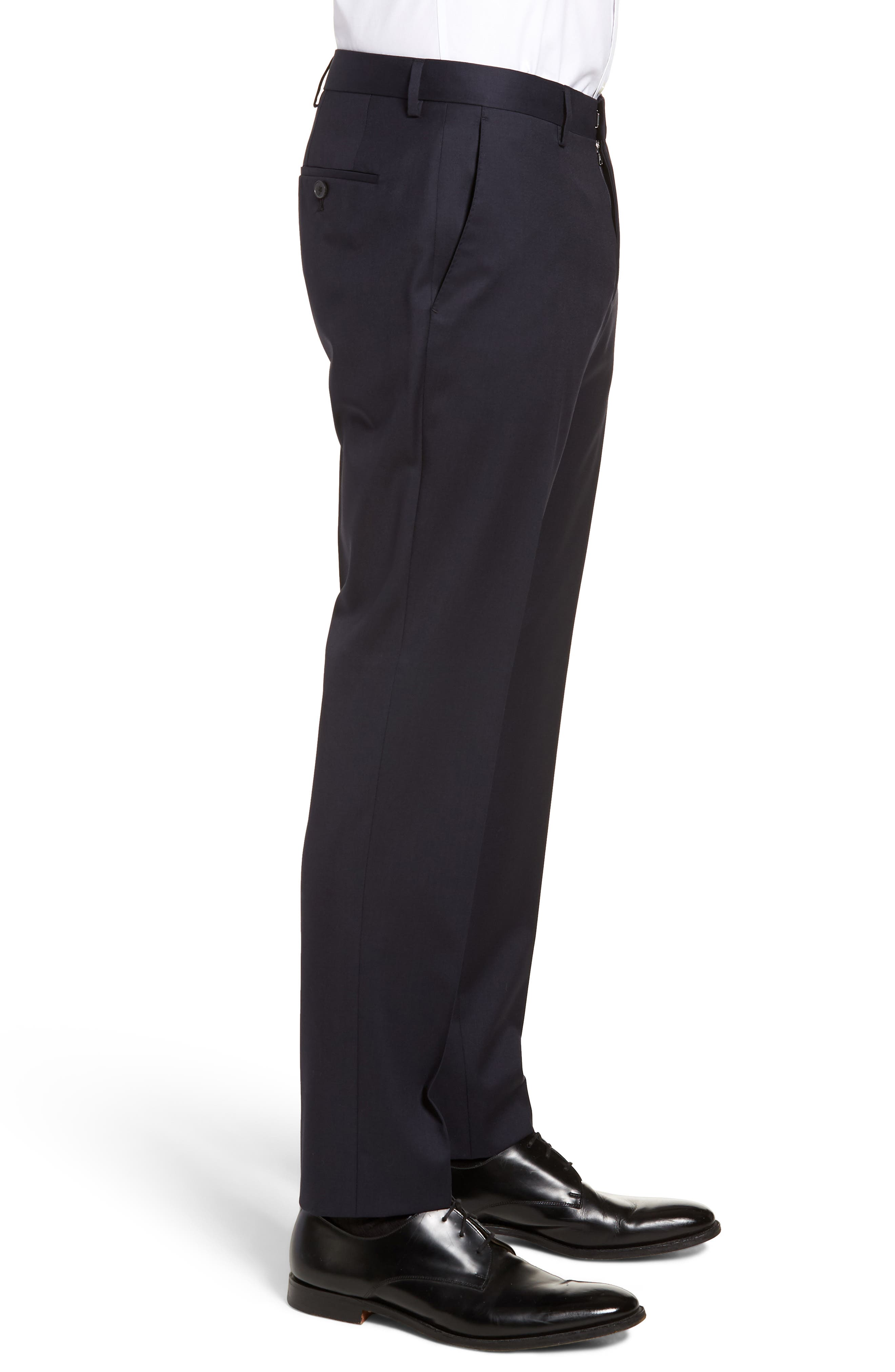 Gibson CYL Flat Front Solid Wool Trousers,                             Alternate thumbnail 3, color,                             Dark Blue