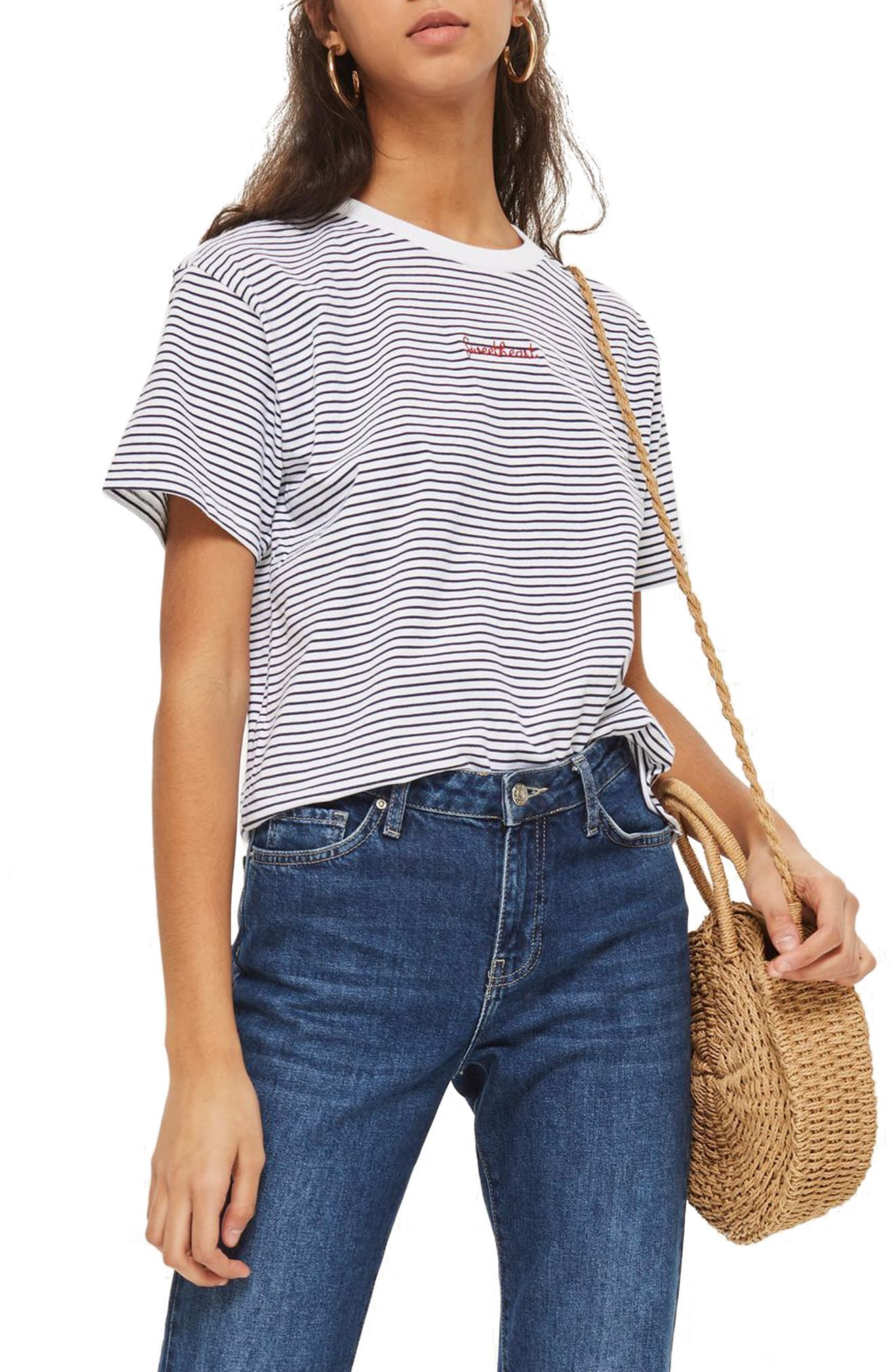Petite Stripe Sweetheart T-Shirt,                             Main thumbnail 1, color,                             White Multi