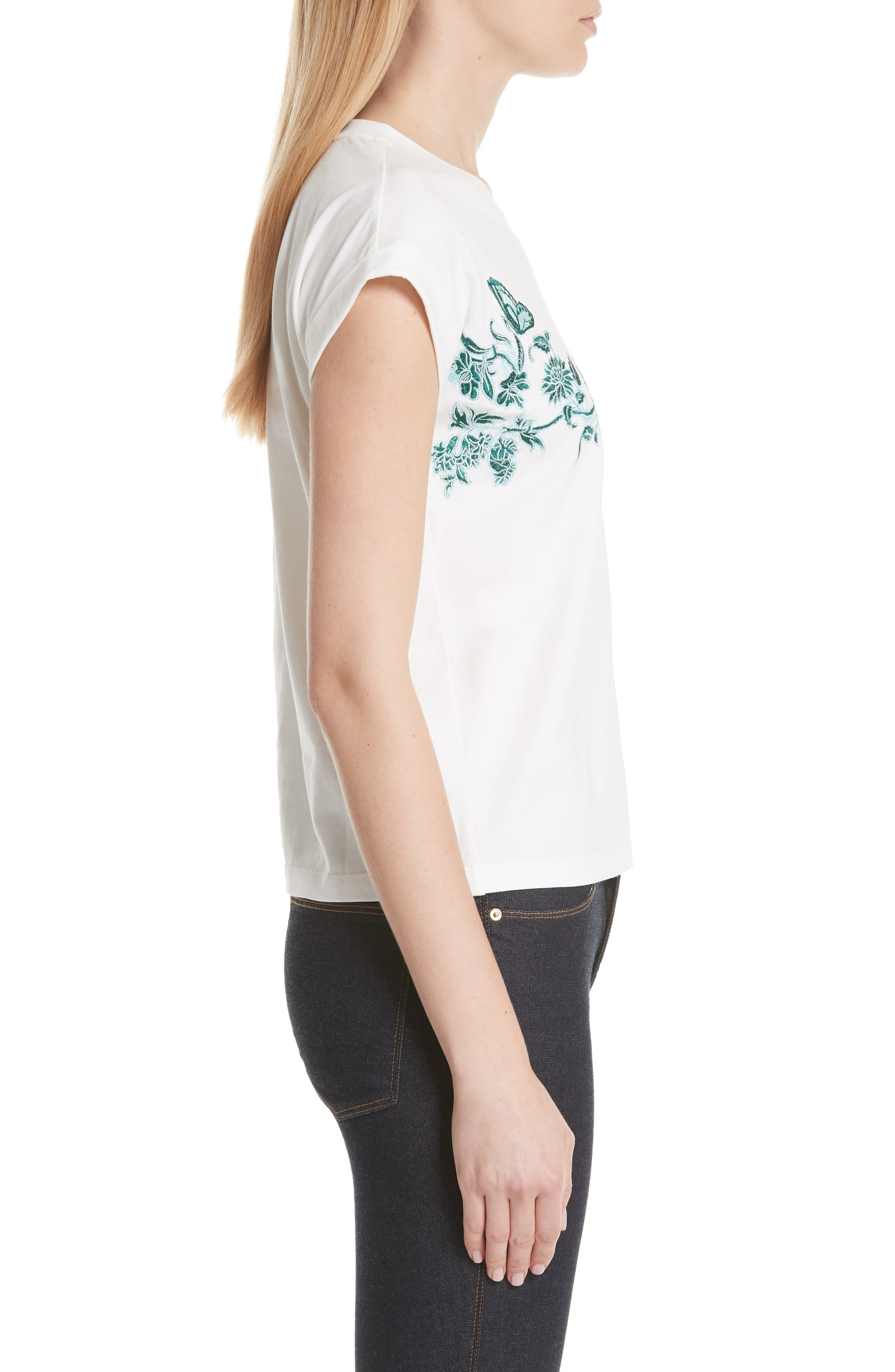 Floral Embroidered Tee,                             Alternate thumbnail 3, color,                             Ecru