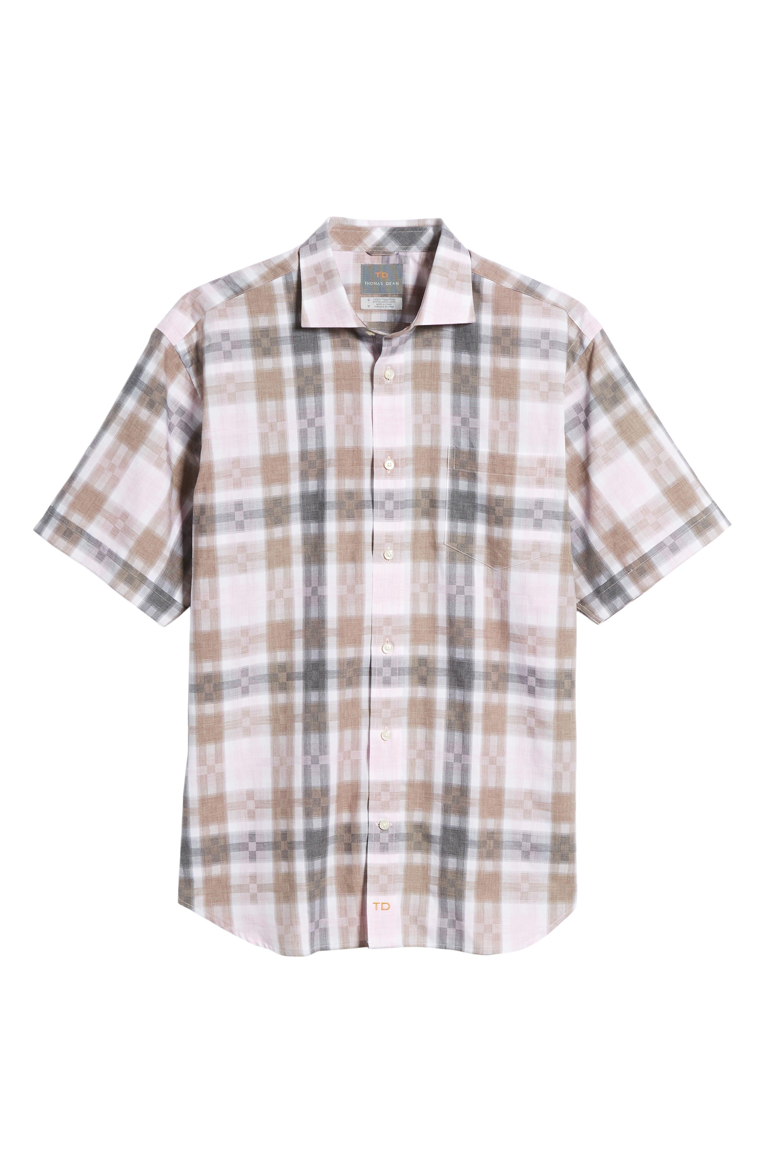 Regular Fit Check Sport Shirt,                             Alternate thumbnail 6, color,                             Pink