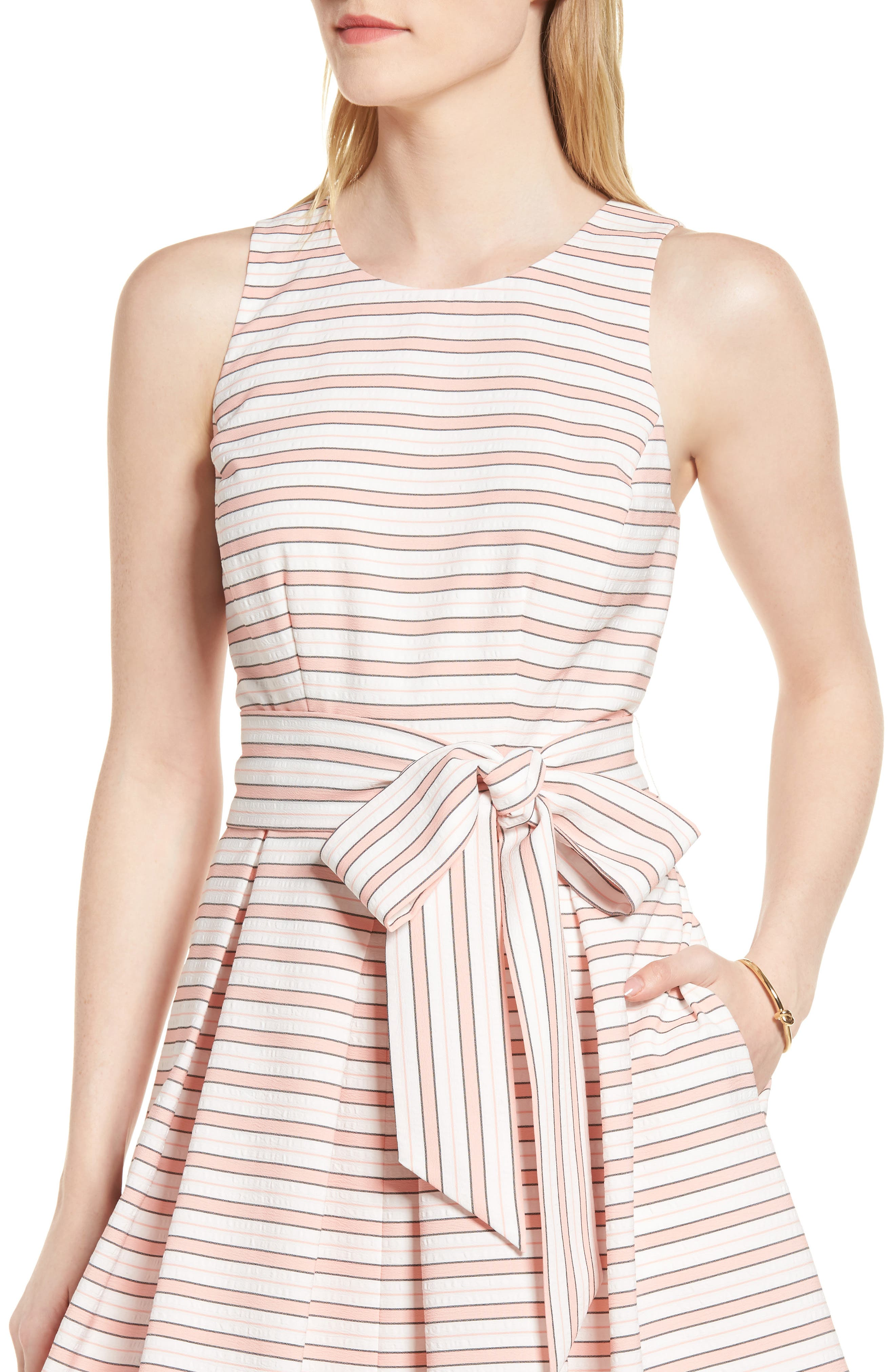 Stripe Tie Waist Dress,                             Alternate thumbnail 4, color,                             Pink Stripe