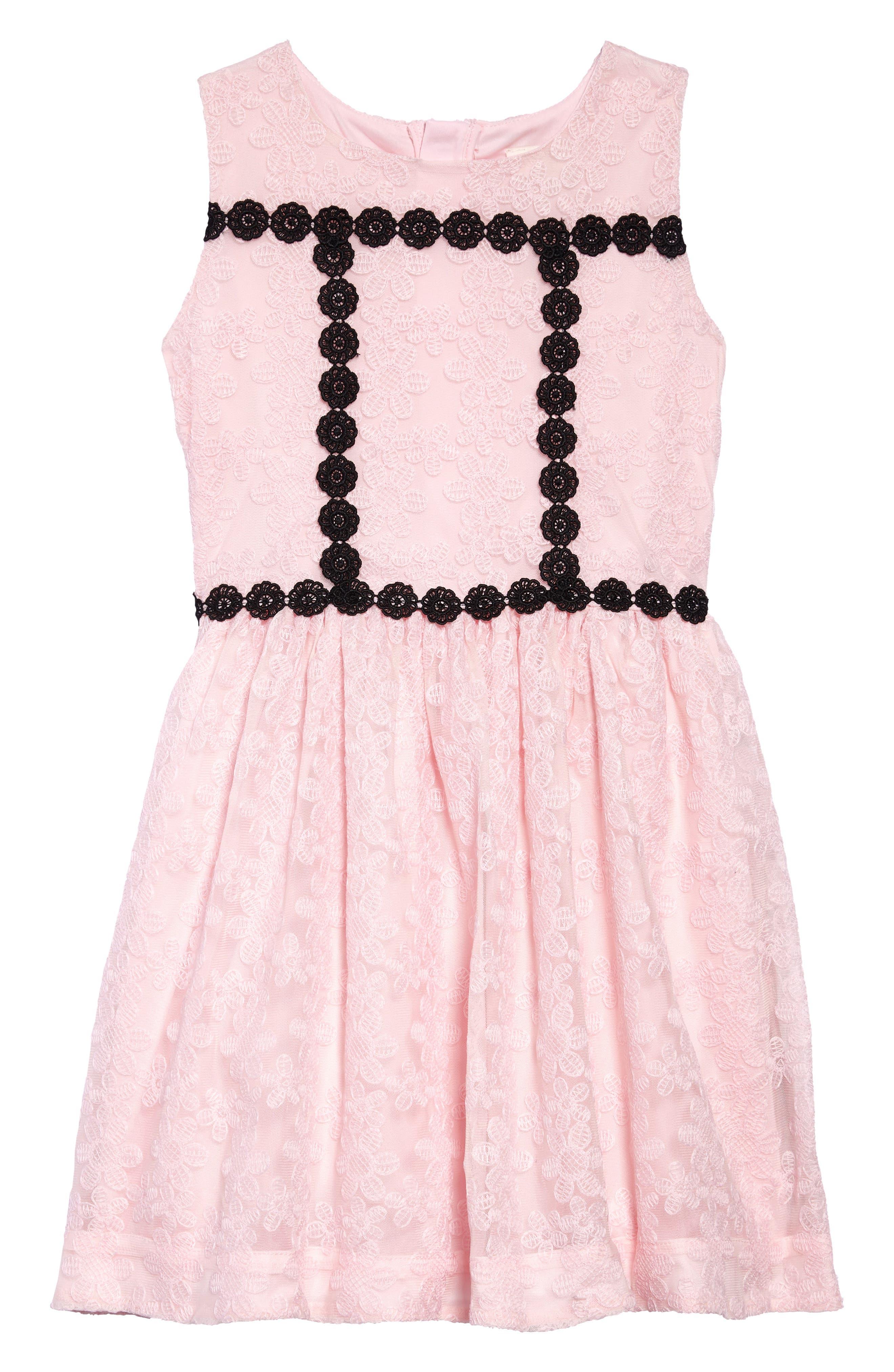 floral mesh sleeveless dress,                             Main thumbnail 1, color,                             Sonata Pink