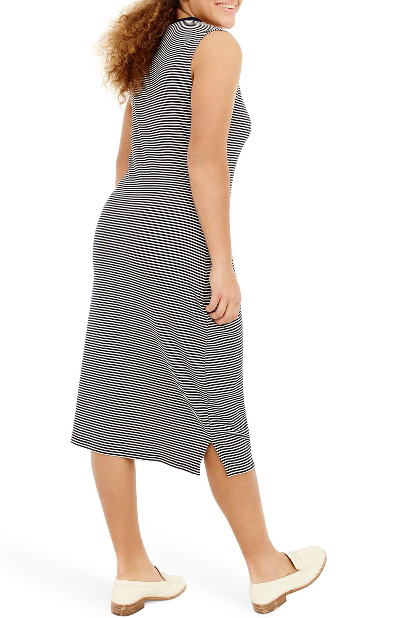 Sleeveless Henley Stripe Midi Dress,                             Alternate thumbnail 2, color,                             Navy Ivory