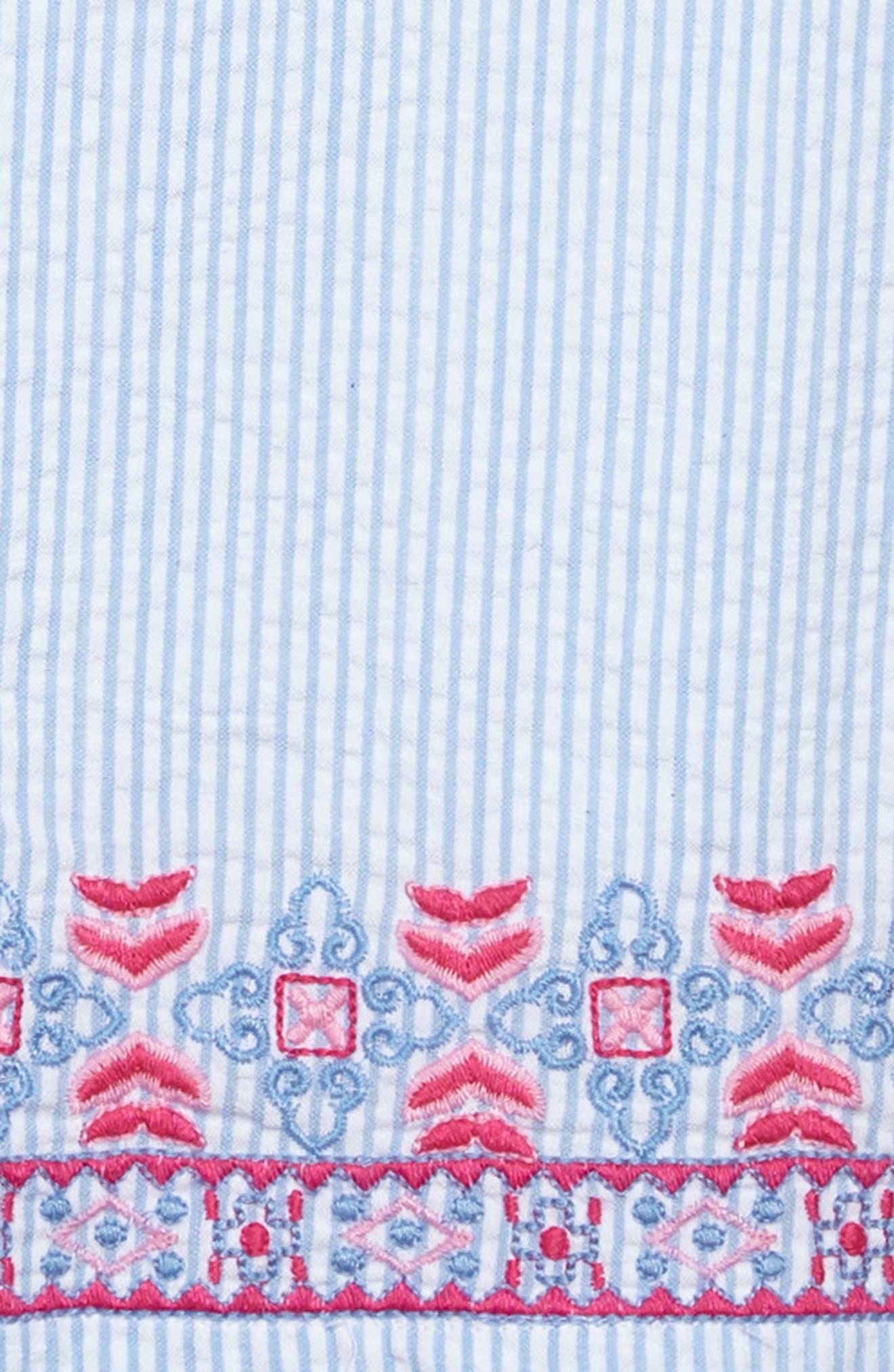 Embroidered Seersucker Shift Dress,                             Alternate thumbnail 3, color,                             Ocean Breeze