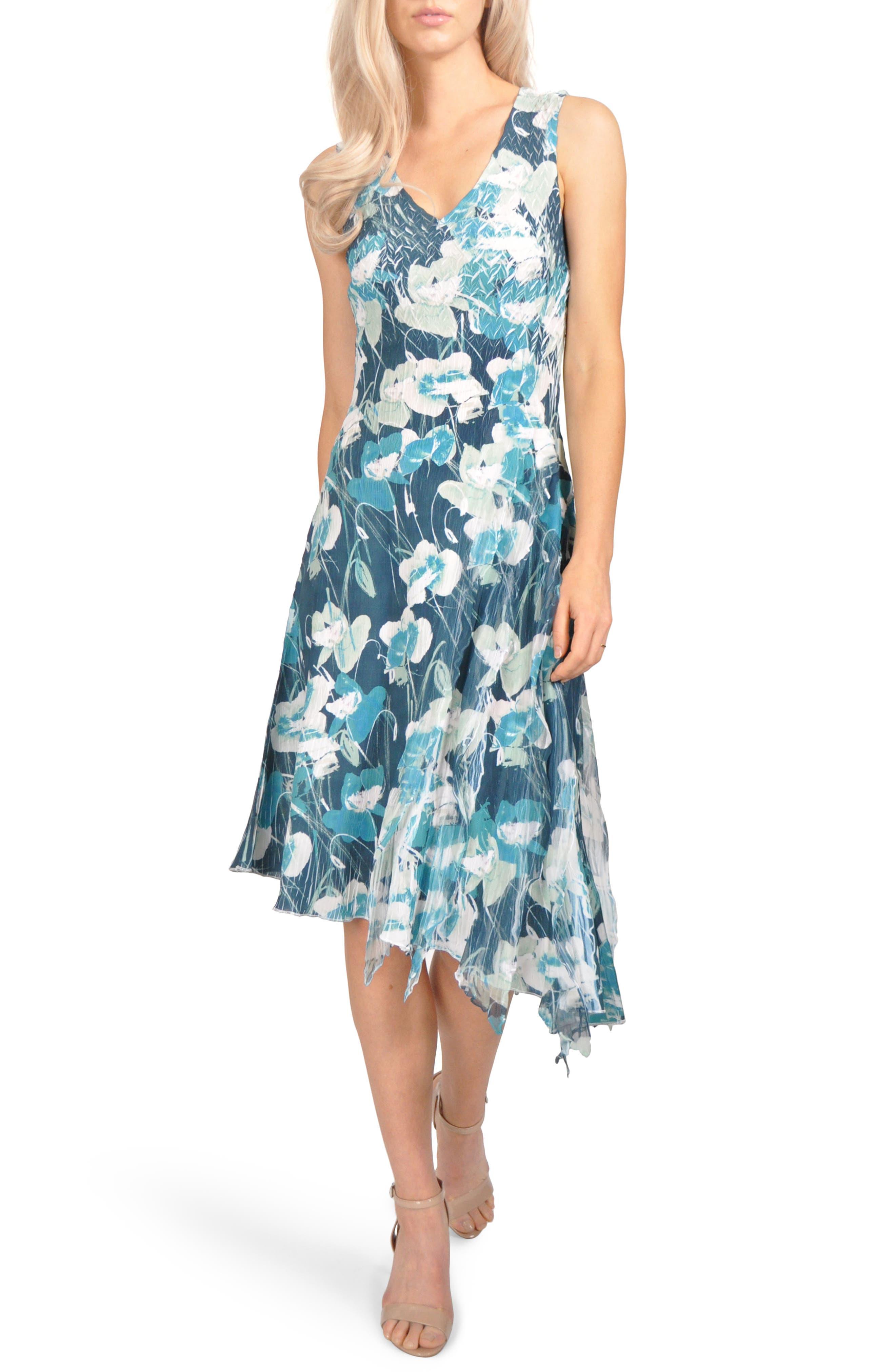 Floral Asymmetric Chiffon Dress,                         Main,                         color, Wild Lapis