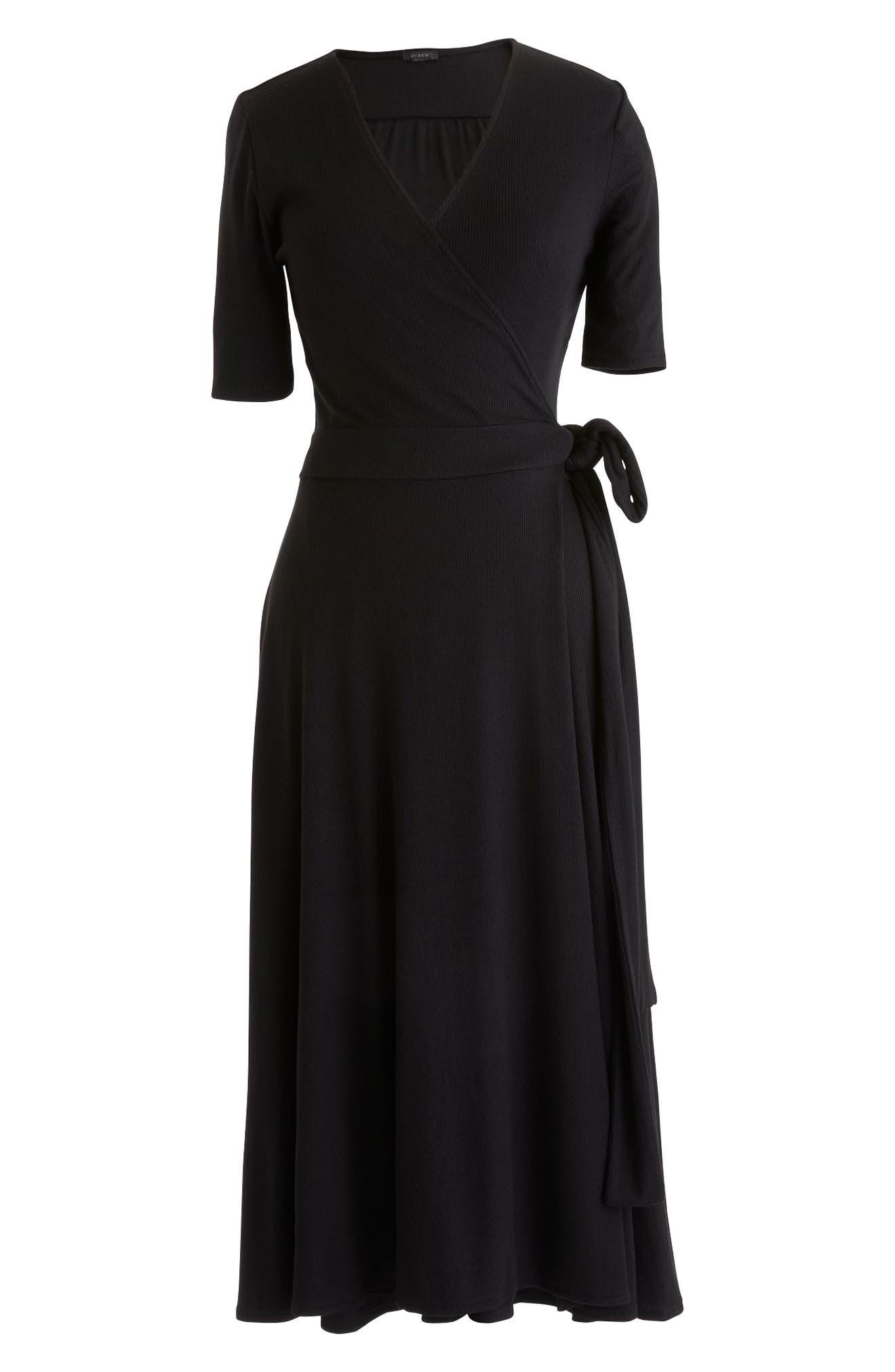 Knit Wrap Dress,                             Main thumbnail 1, color,                             Black