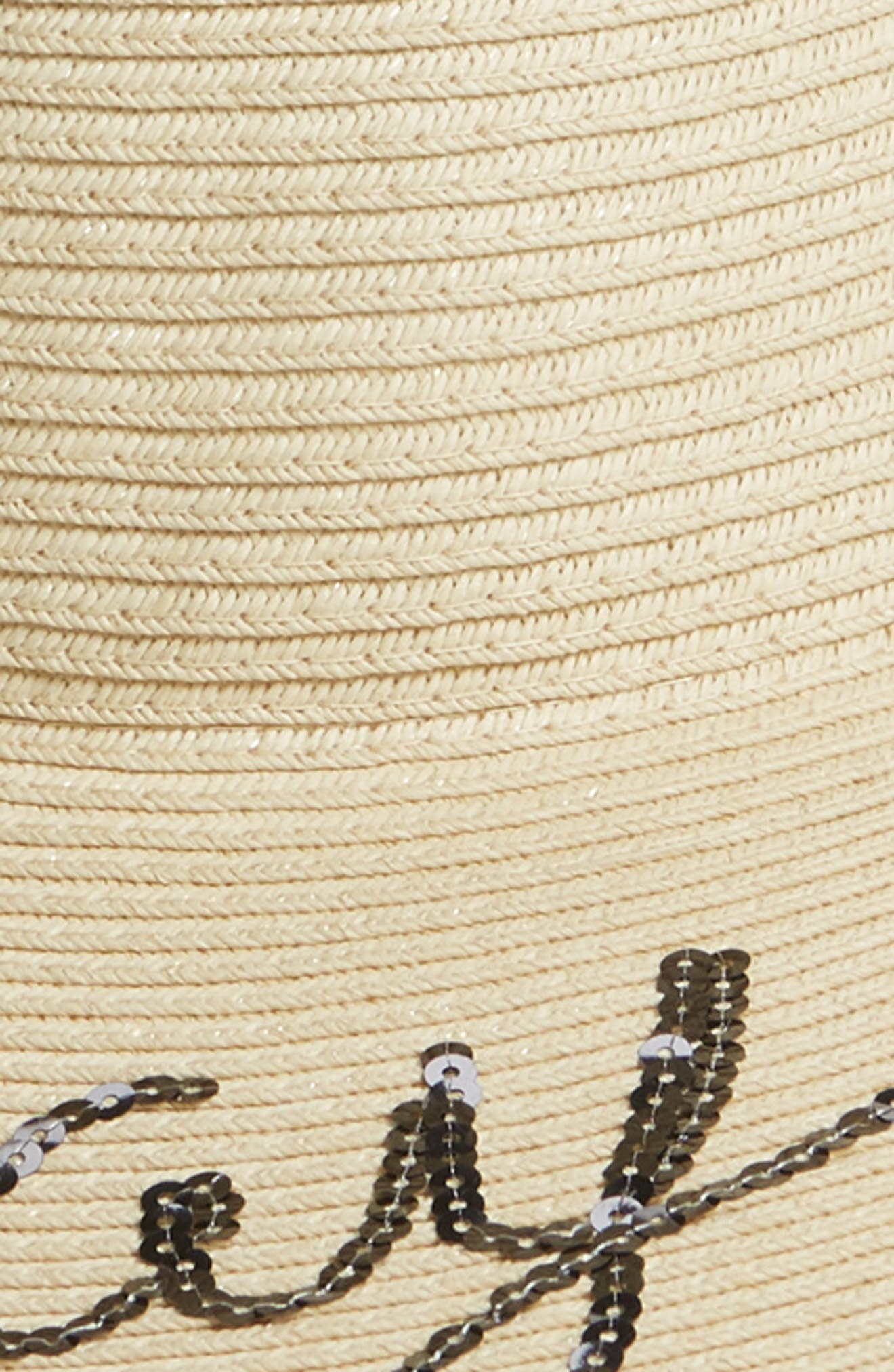 Sequin Embroidered Straw Sun Hat,                             Alternate thumbnail 2, color,                             Natural