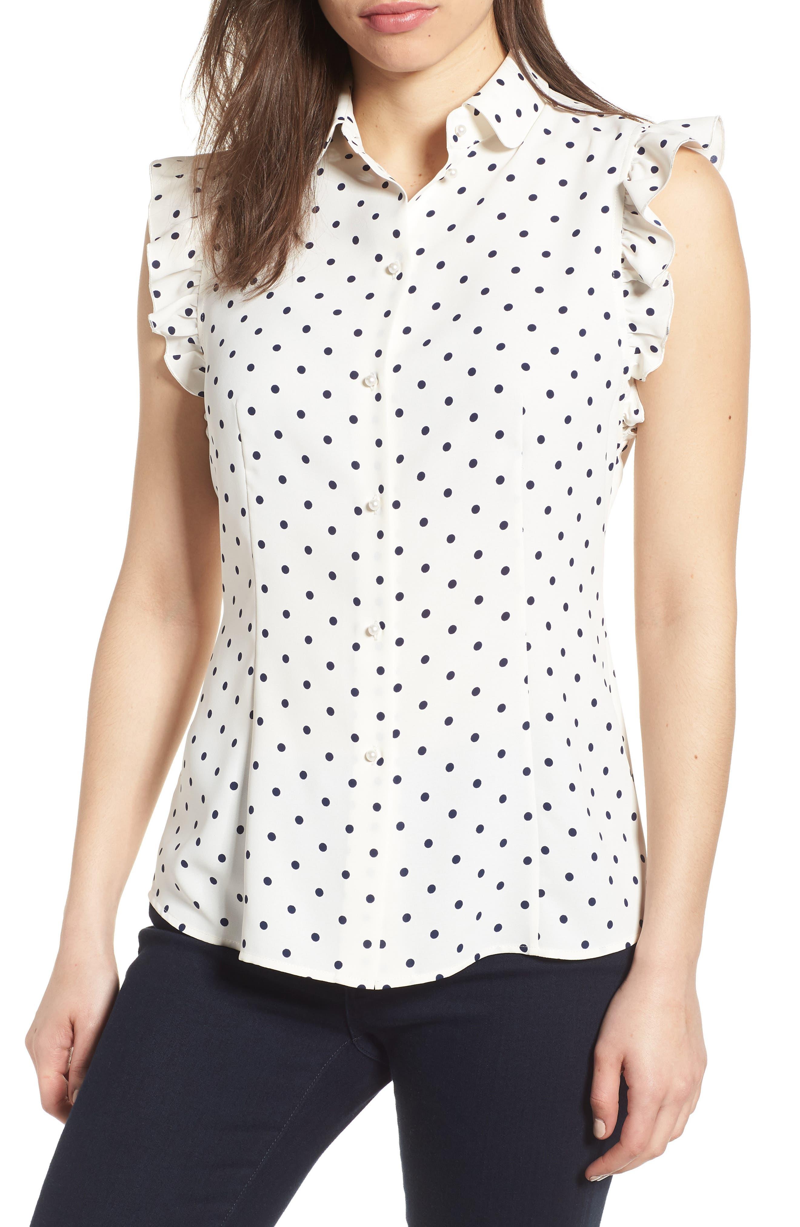 Ginza Dot Ruffle Sleeve Blouse,                         Main,                         color, White/ Breton Blue