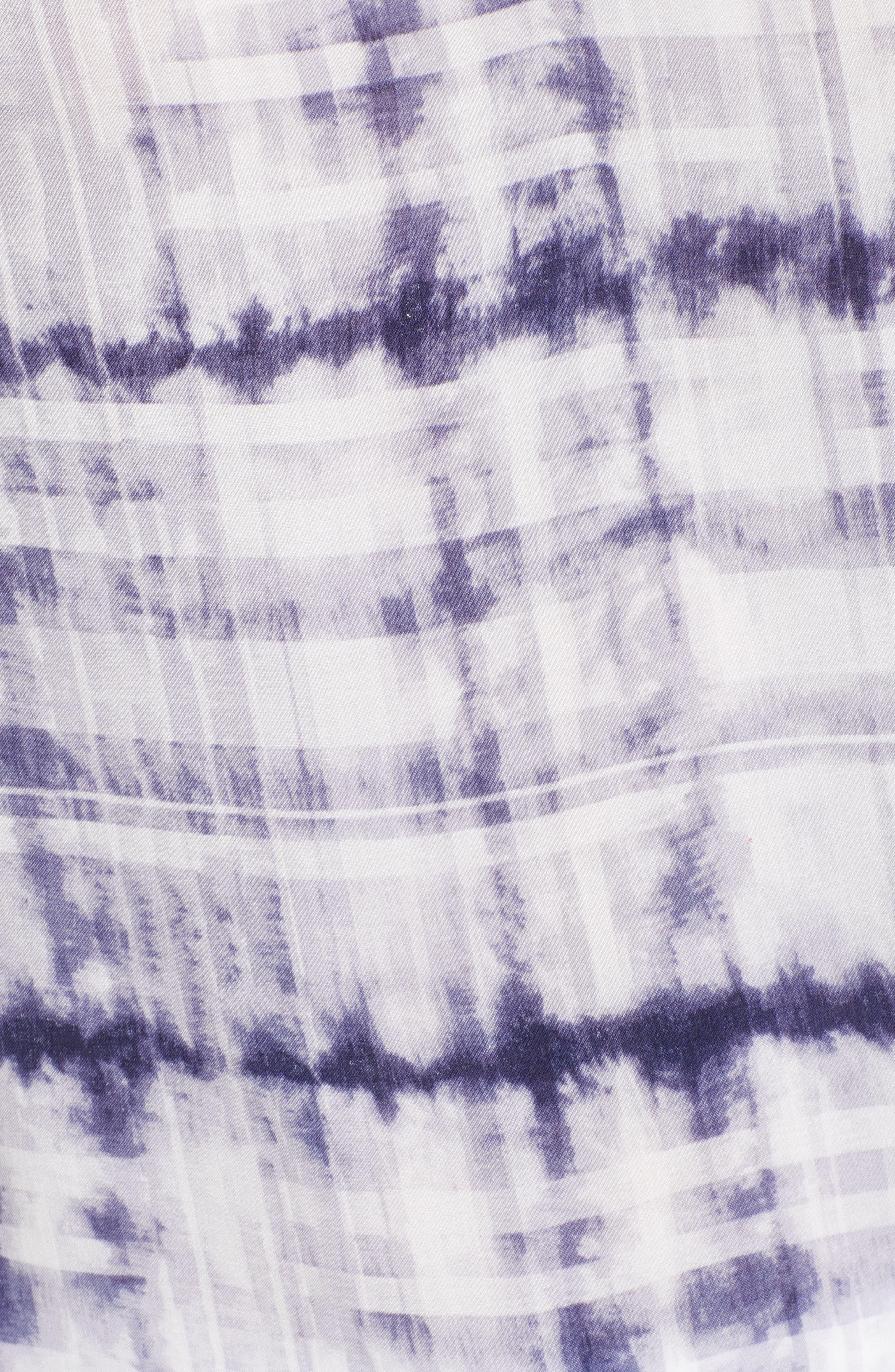 Shibori Plaid Gathered Sleeve Top,                             Alternate thumbnail 6, color,                             Evening Navy