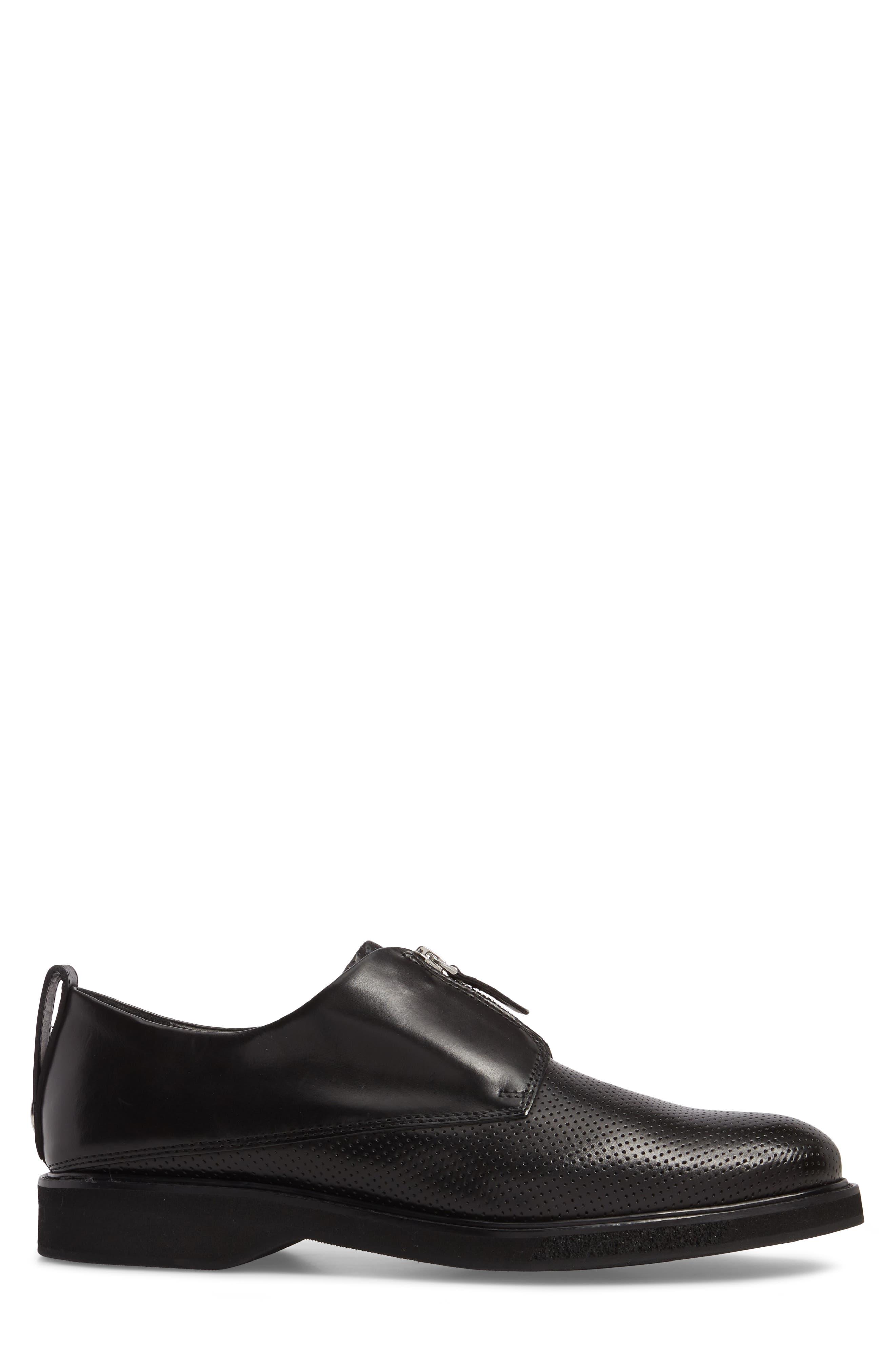 Zipped Derby Shoe,                             Alternate thumbnail 3, color,                             Multi Perforated Black/ Black