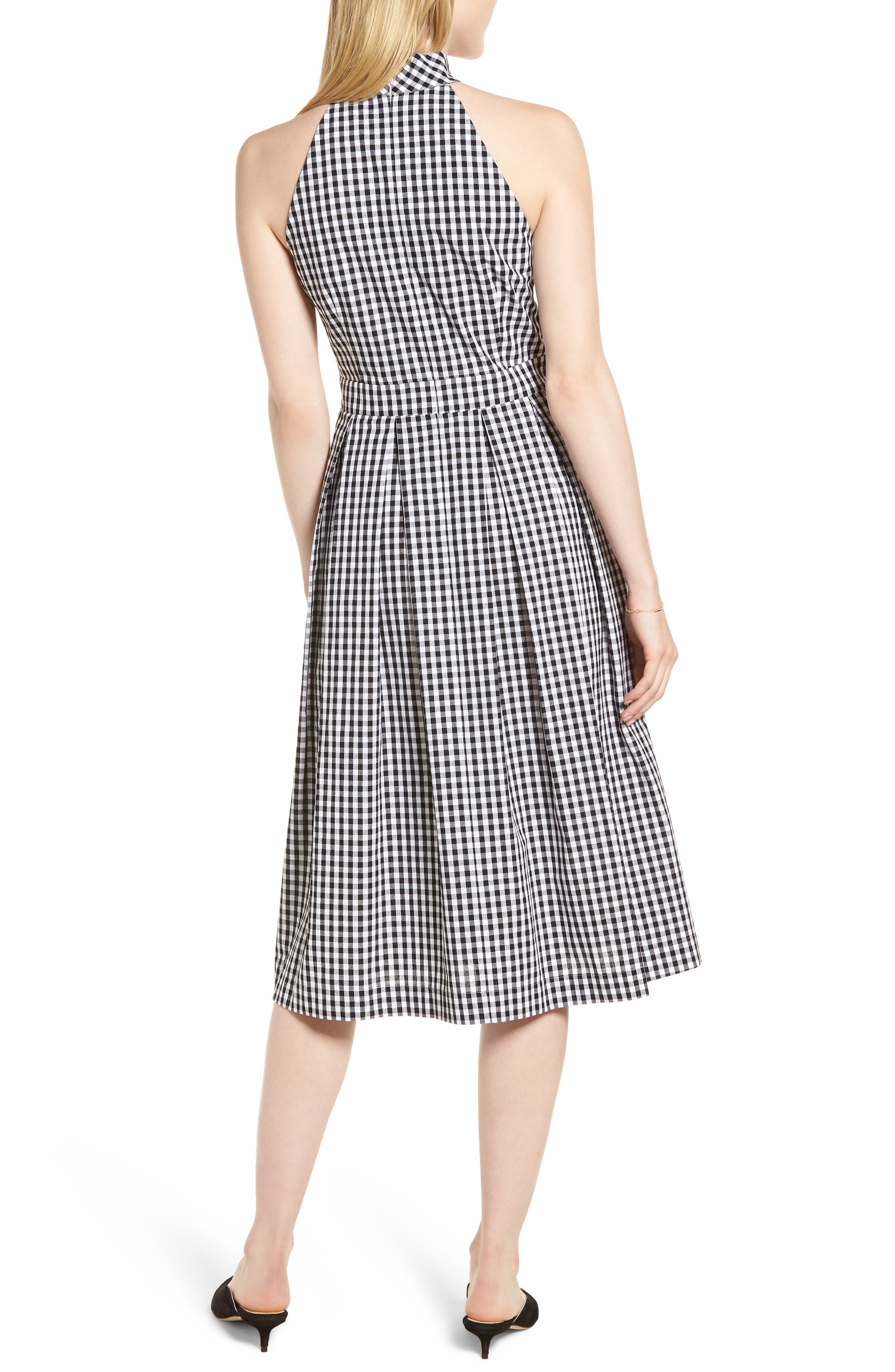 Gingham Halter Dress,                             Alternate thumbnail 2, color,                             Black- White Gingham