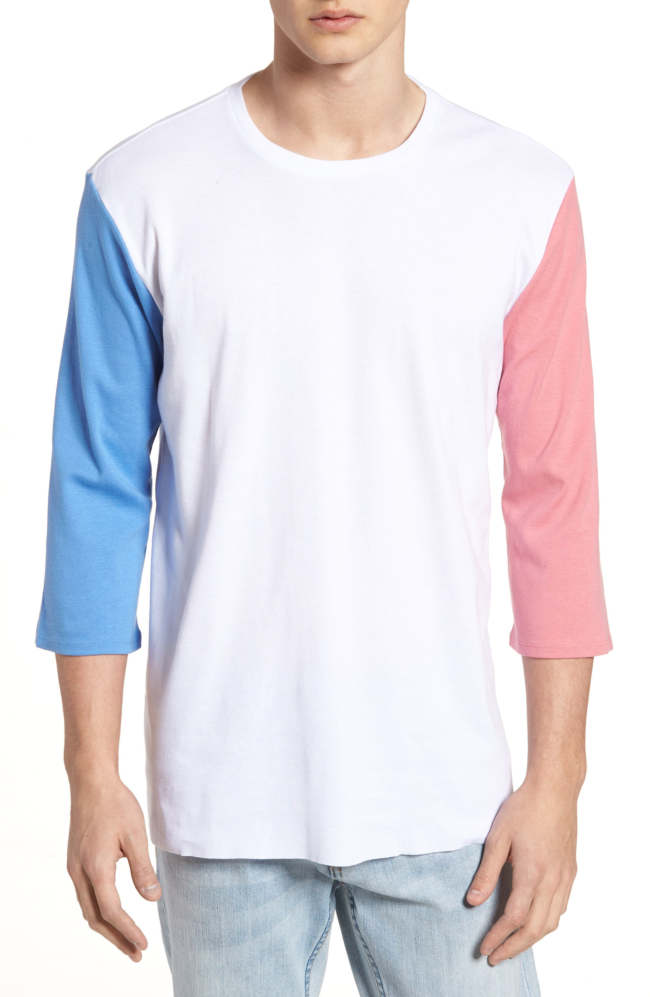 Contrast Sleeve T-Shirt,                         Main,                         color, White/ Pink / Blue