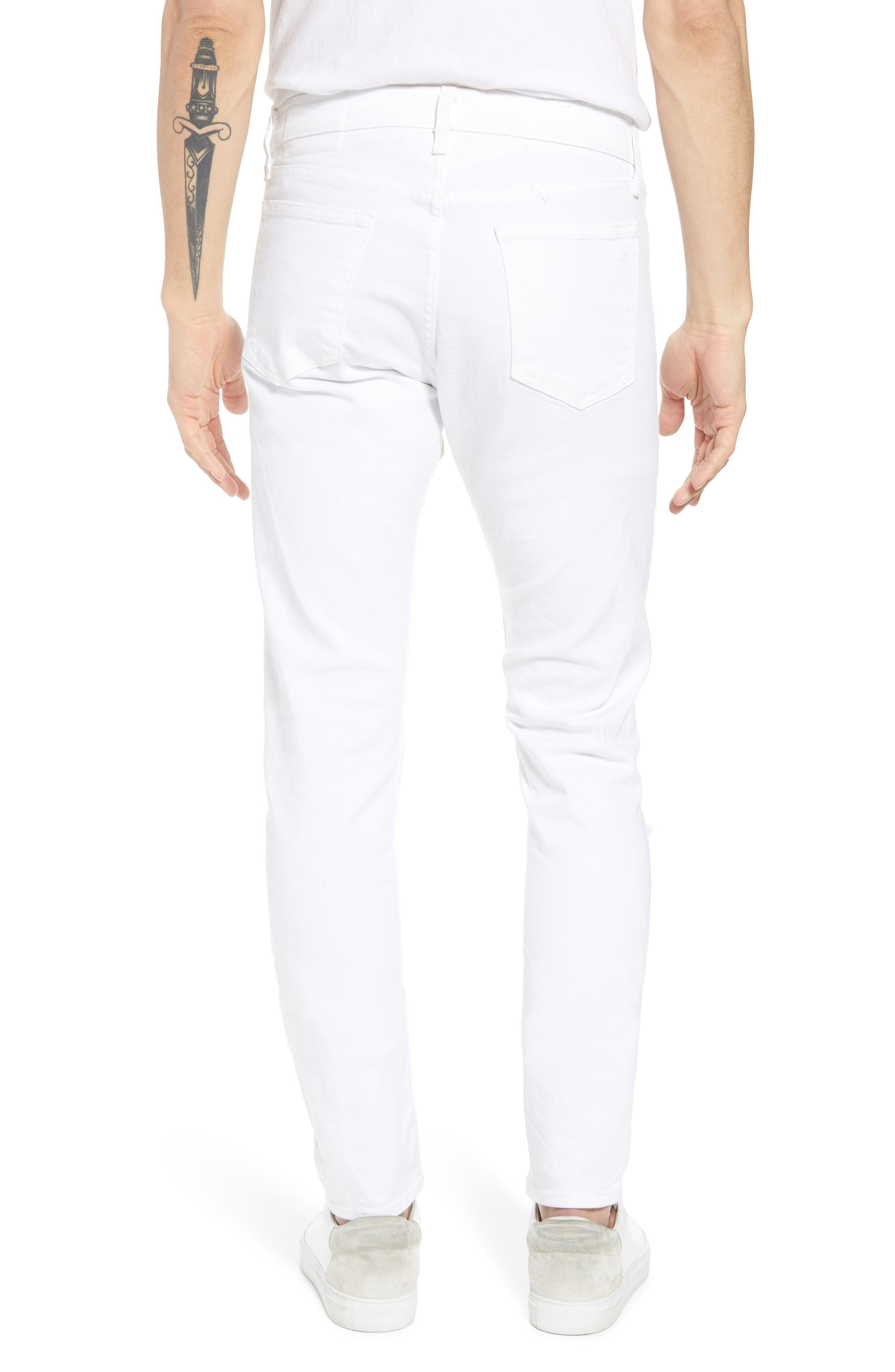Fit 1 Skinny Fit Jeans,                             Alternate thumbnail 2, color,                             White W/ Holes