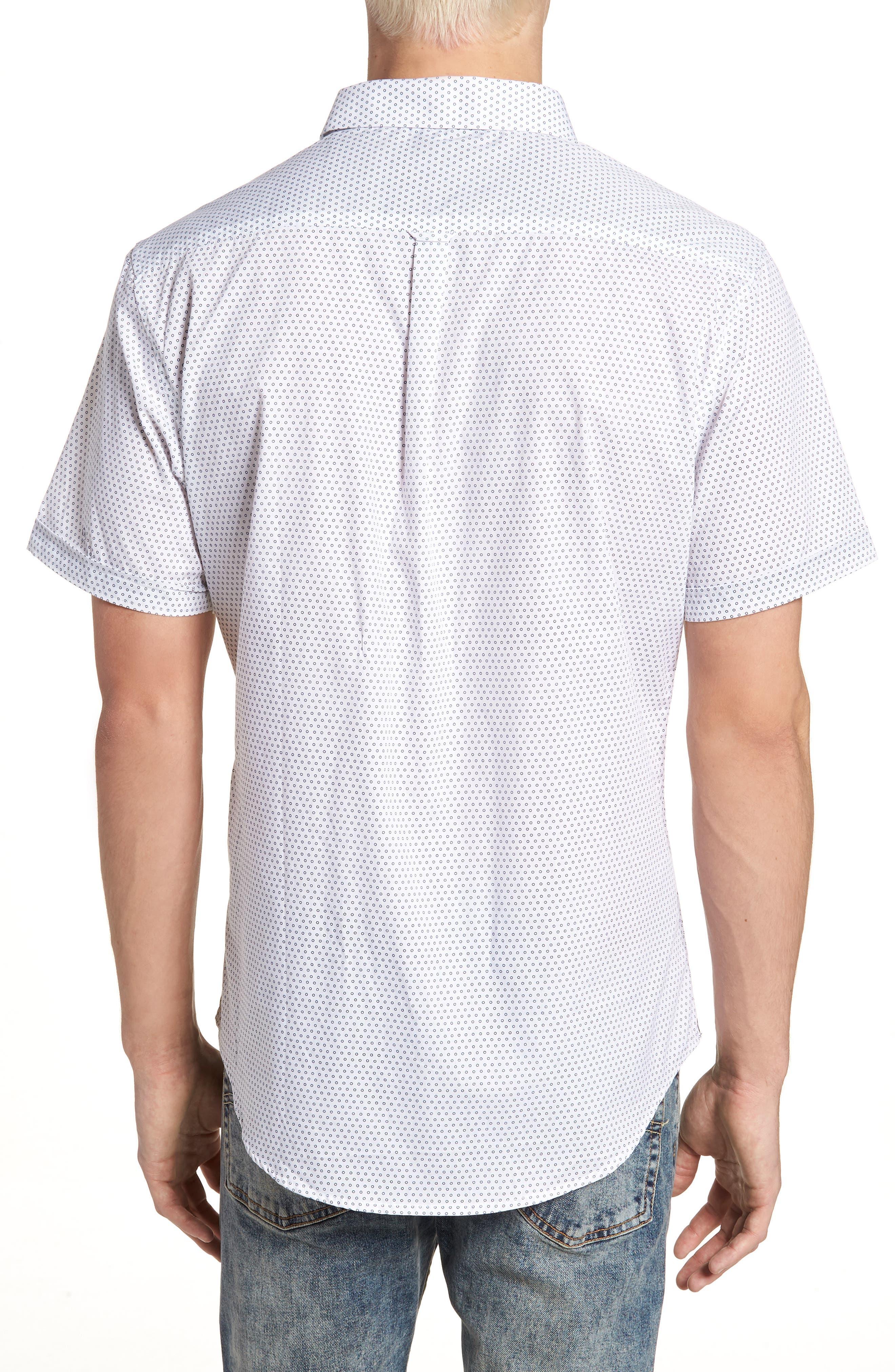 Lights of Home Slim Fit Short Sleeve Sport Shirt,                             Alternate thumbnail 2, color,                             White