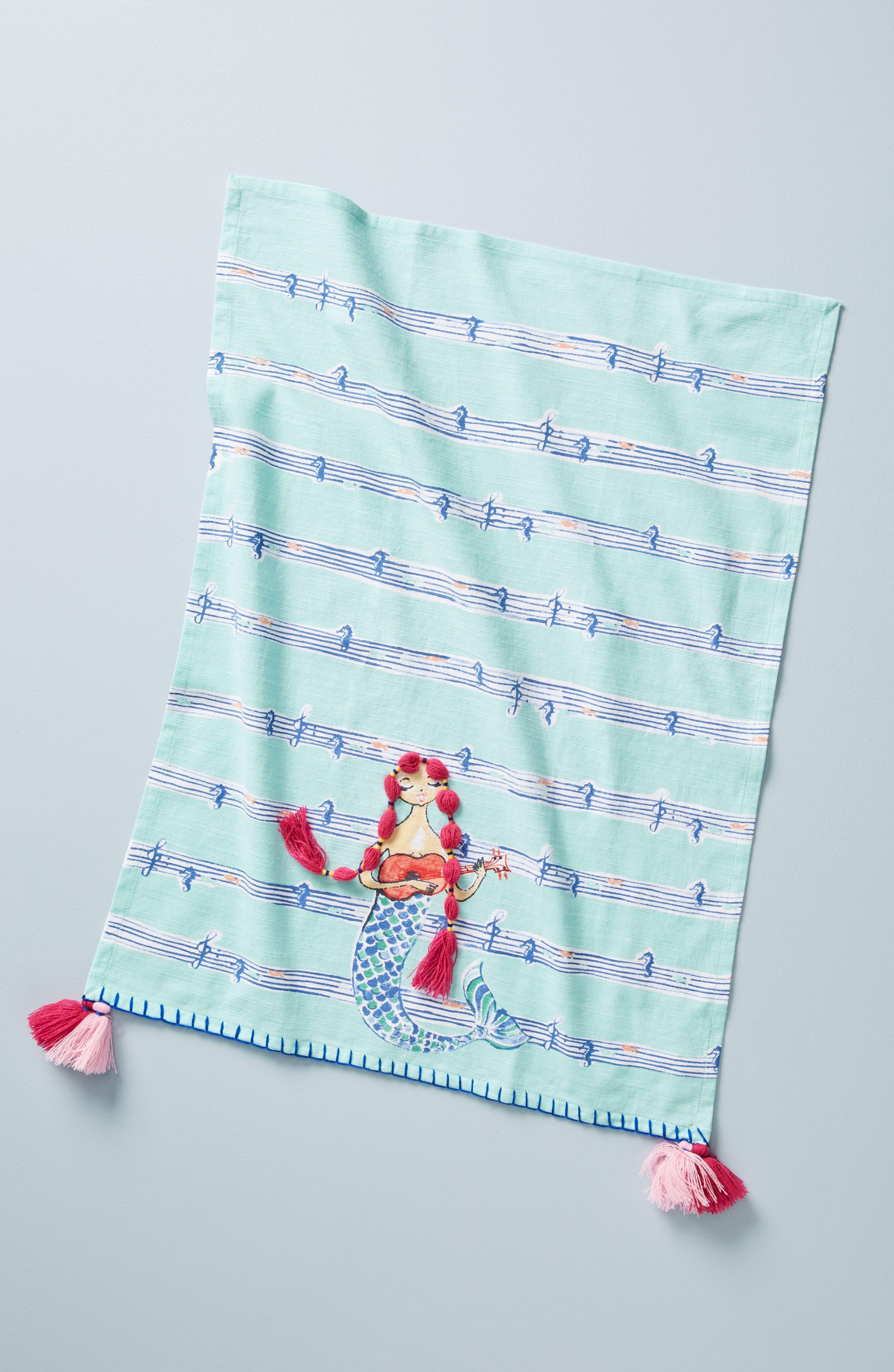 Mermaid Dishtowel,                             Main thumbnail 1, color,                             Turquoise