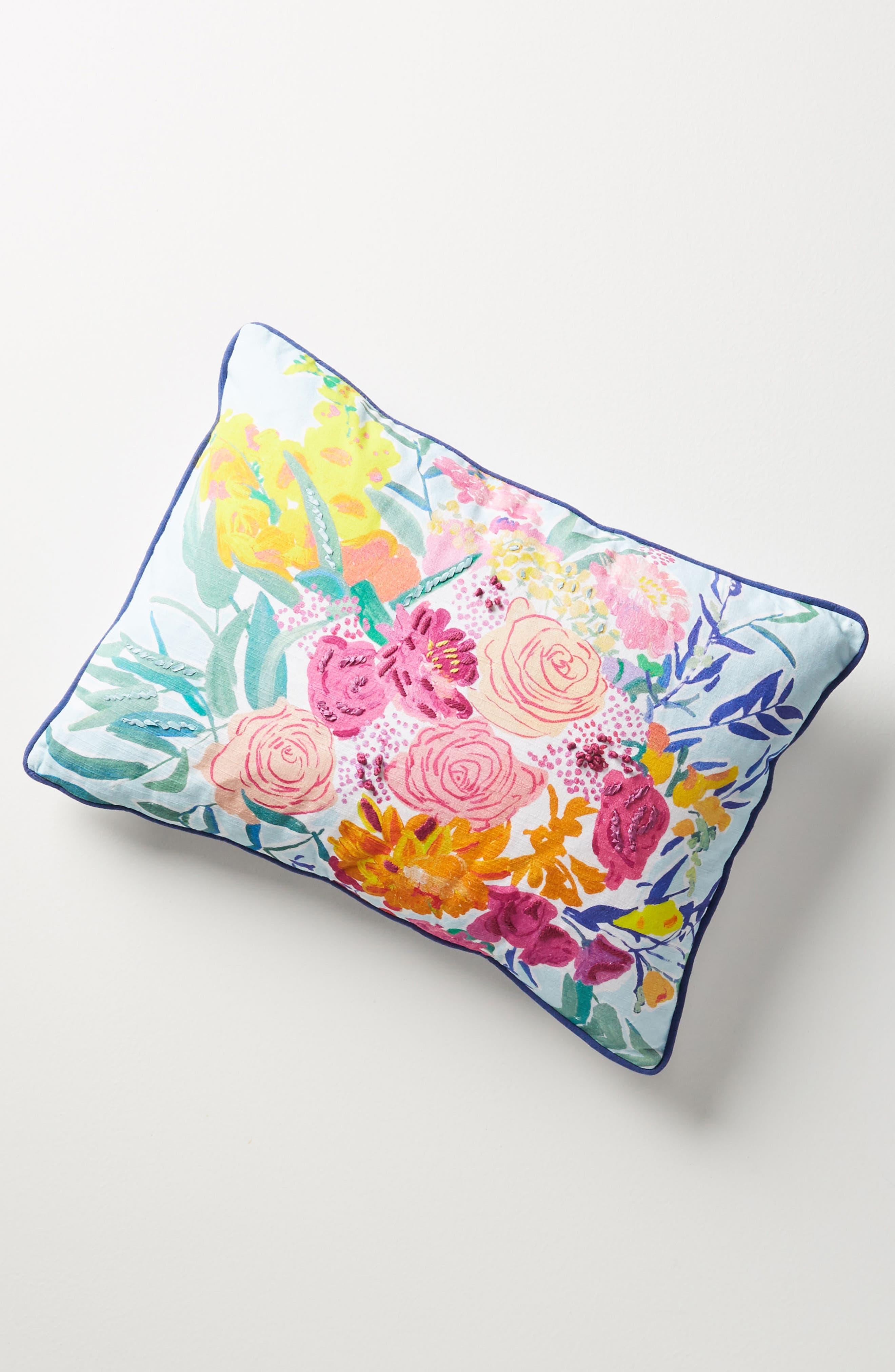 Paint + Petals Accent Pillow,                             Main thumbnail 1, color,                             Pink